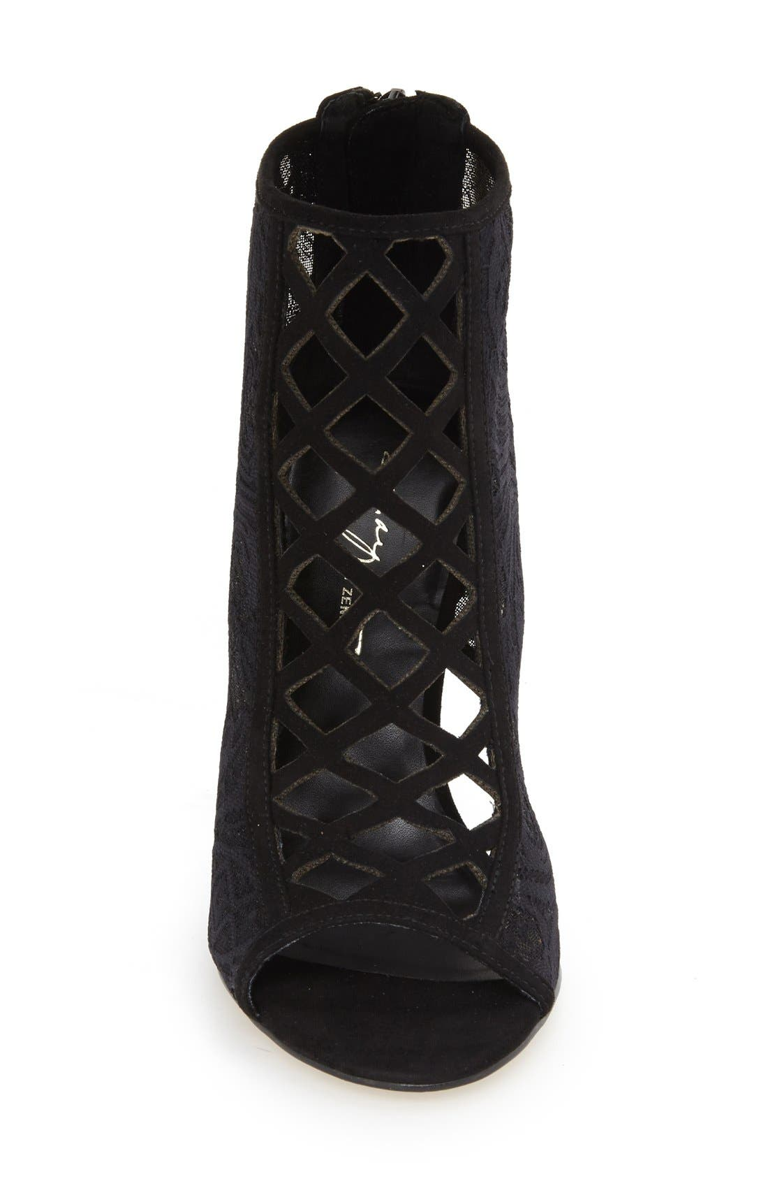DAYA, by Zendaya 'Angus' Lace Open Toe Bootie, Alternate thumbnail 3, color, 008