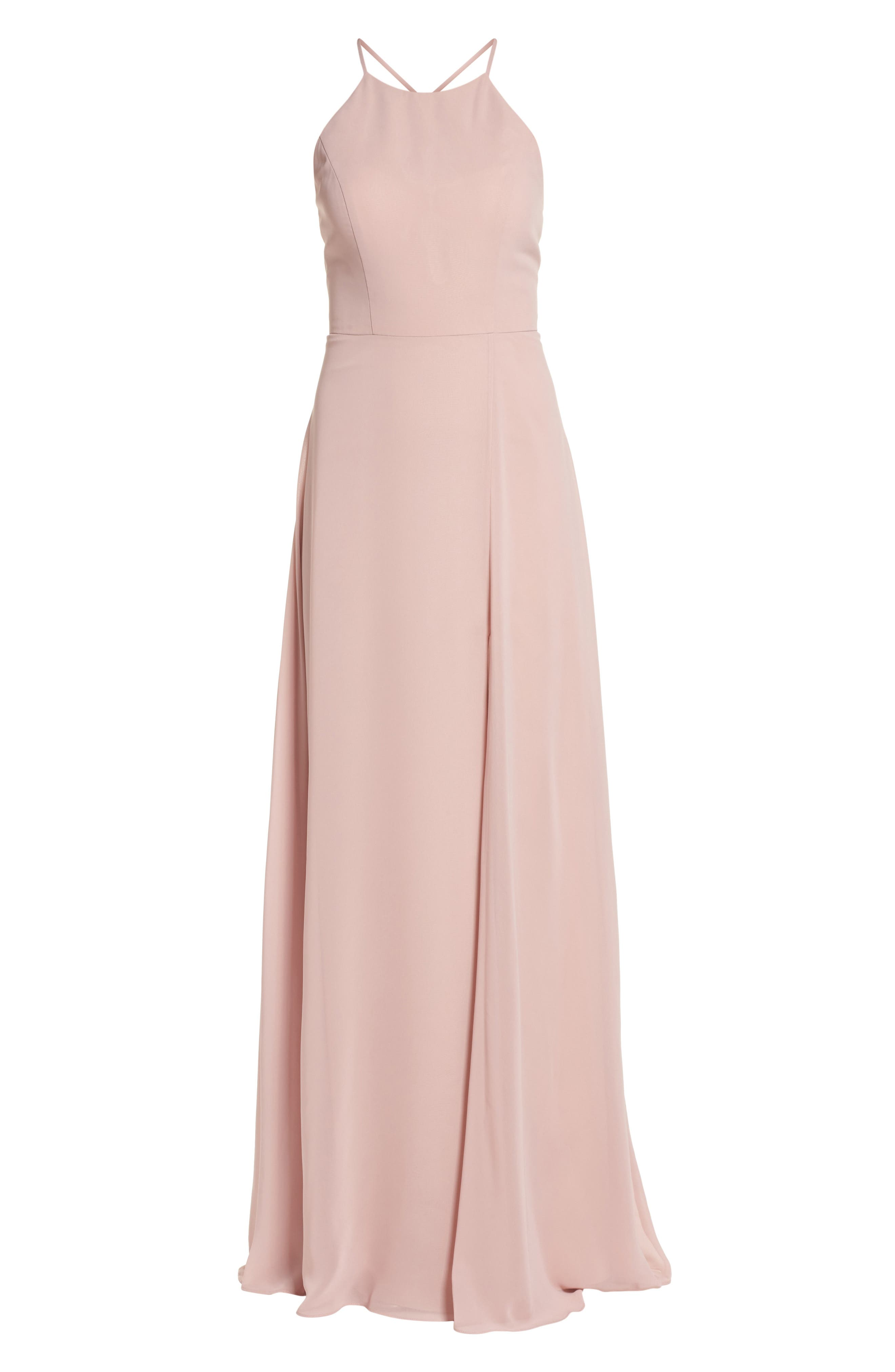 JENNY YOO, Kayla A-Line Halter Gown, Alternate thumbnail 7, color, WHIPPED APRICOT