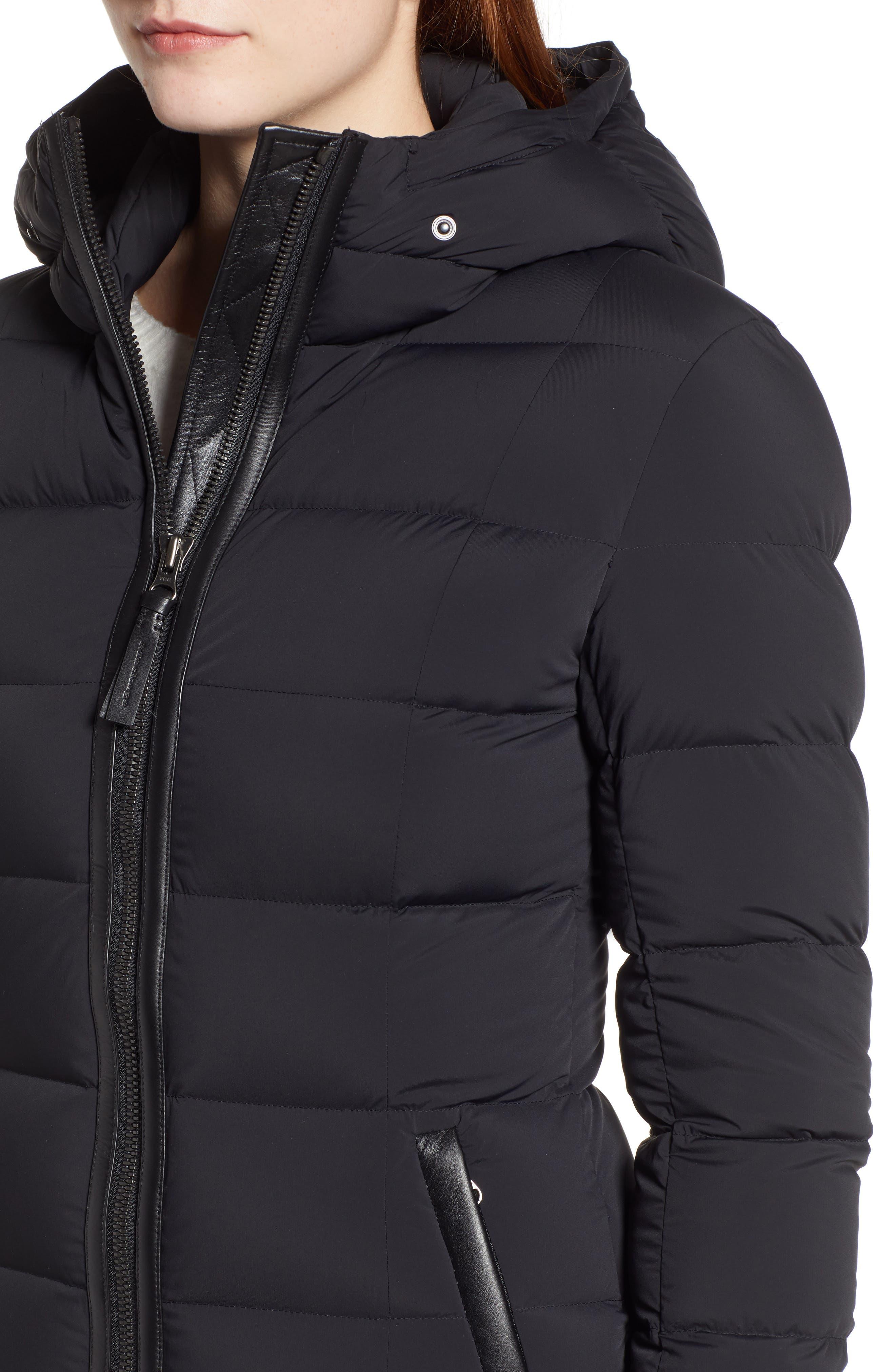 MACKAGE, Calla Genuine Fox Fur Trim Hooded Down Coat, Alternate thumbnail 5, color, BLACK