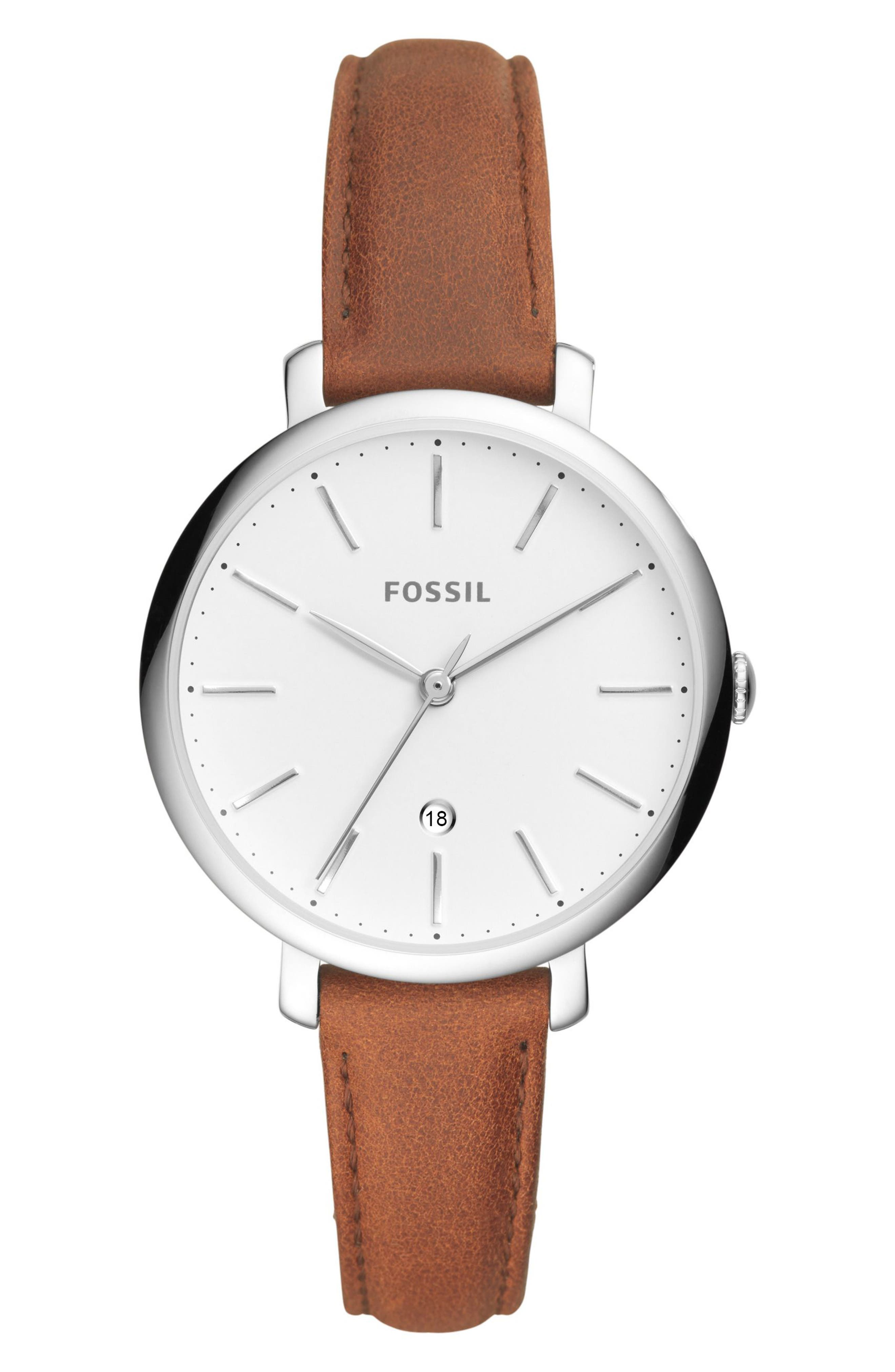 FOSSIL Jacqueline Leather Strap Watch, 36mm, Main, color, BROWN/ WHITE/ SILVER