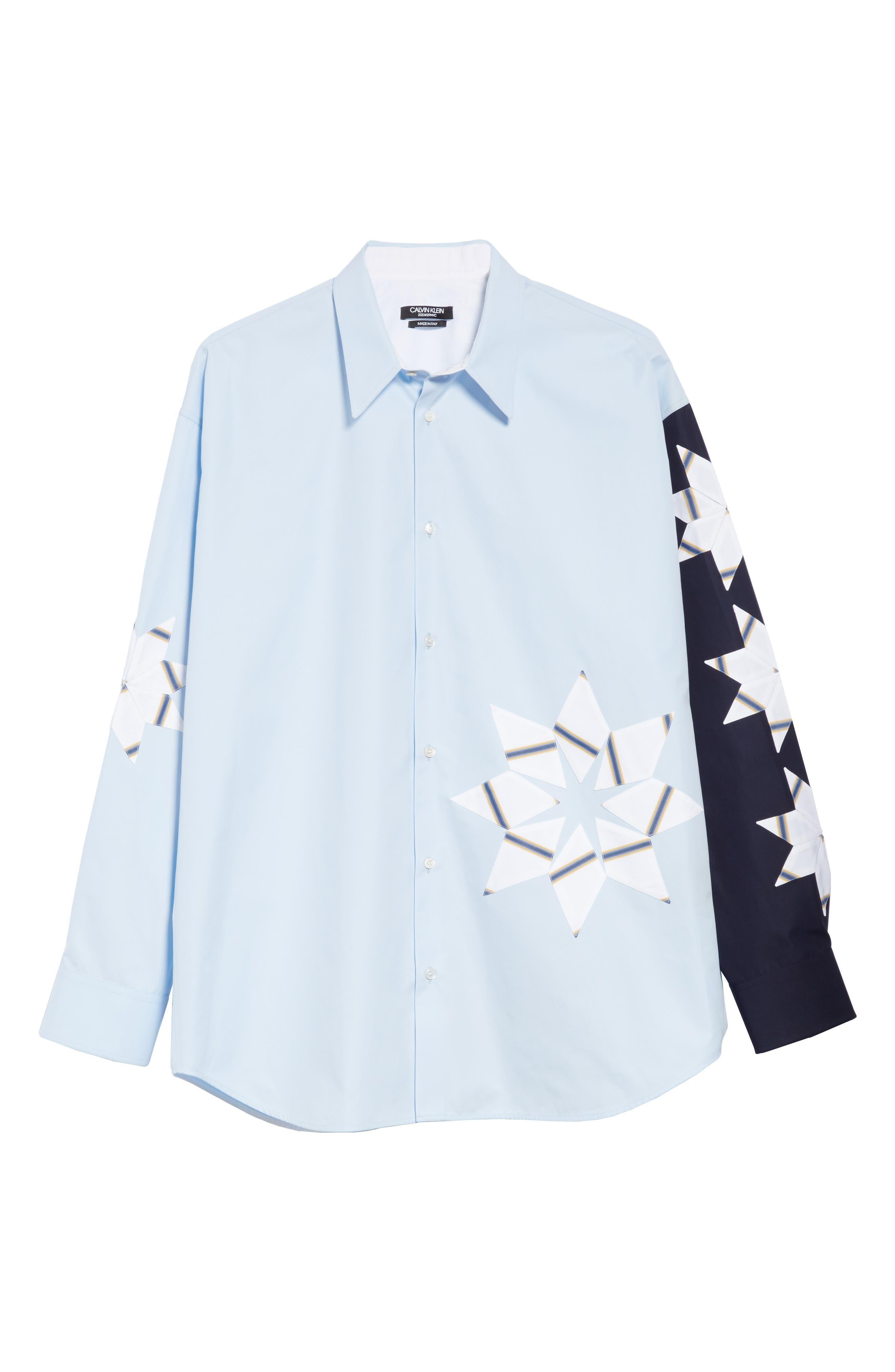 CALVIN KLEIN 205W39NYC, Pinwheel Sport Shirt, Alternate thumbnail 5, color, LIGHT SKY MARINE