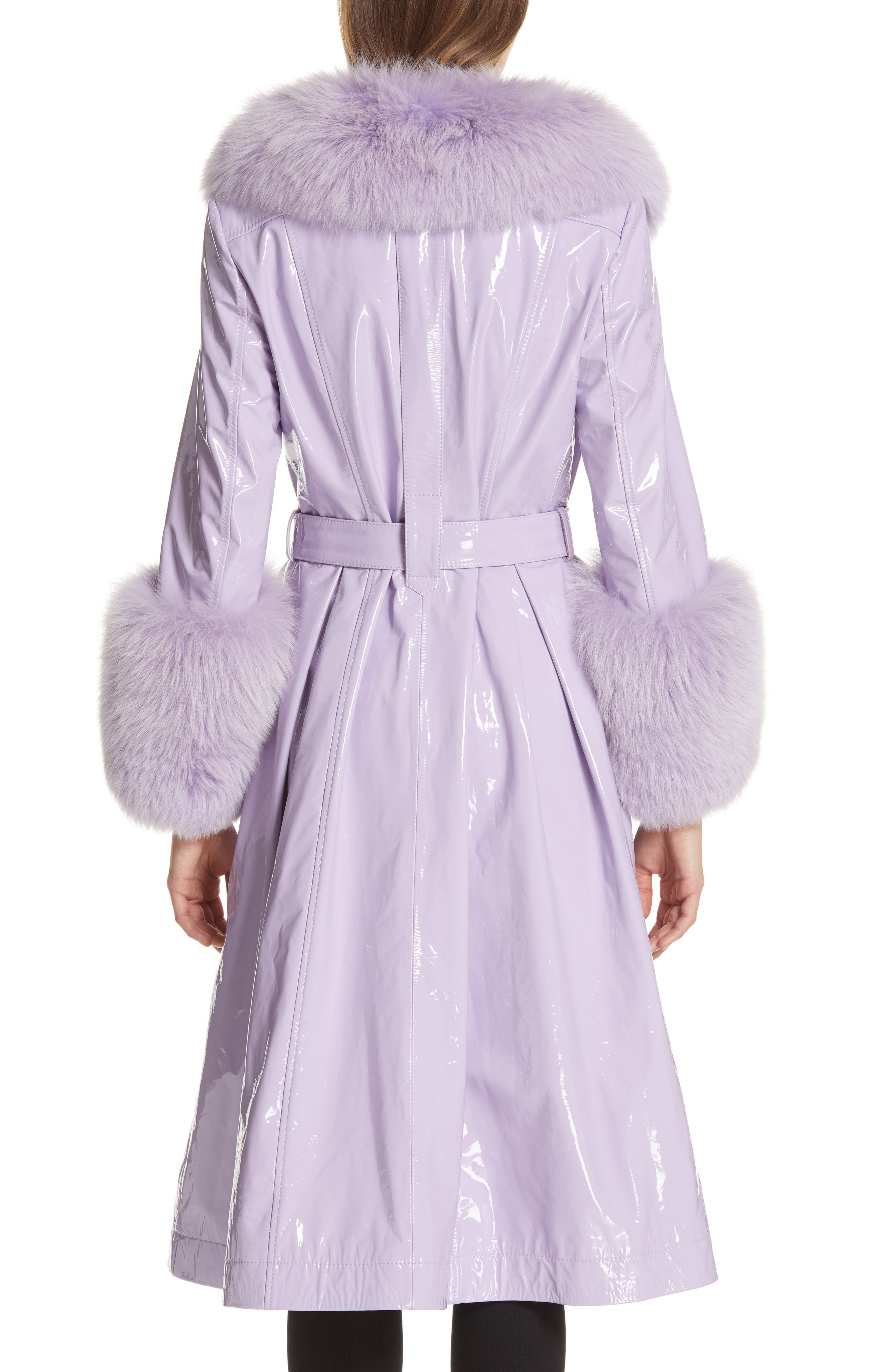 SAKS POTTS, Patent Leather Coat with Genuine Fox Fur Trim, Alternate thumbnail 2, color, LAVENDER