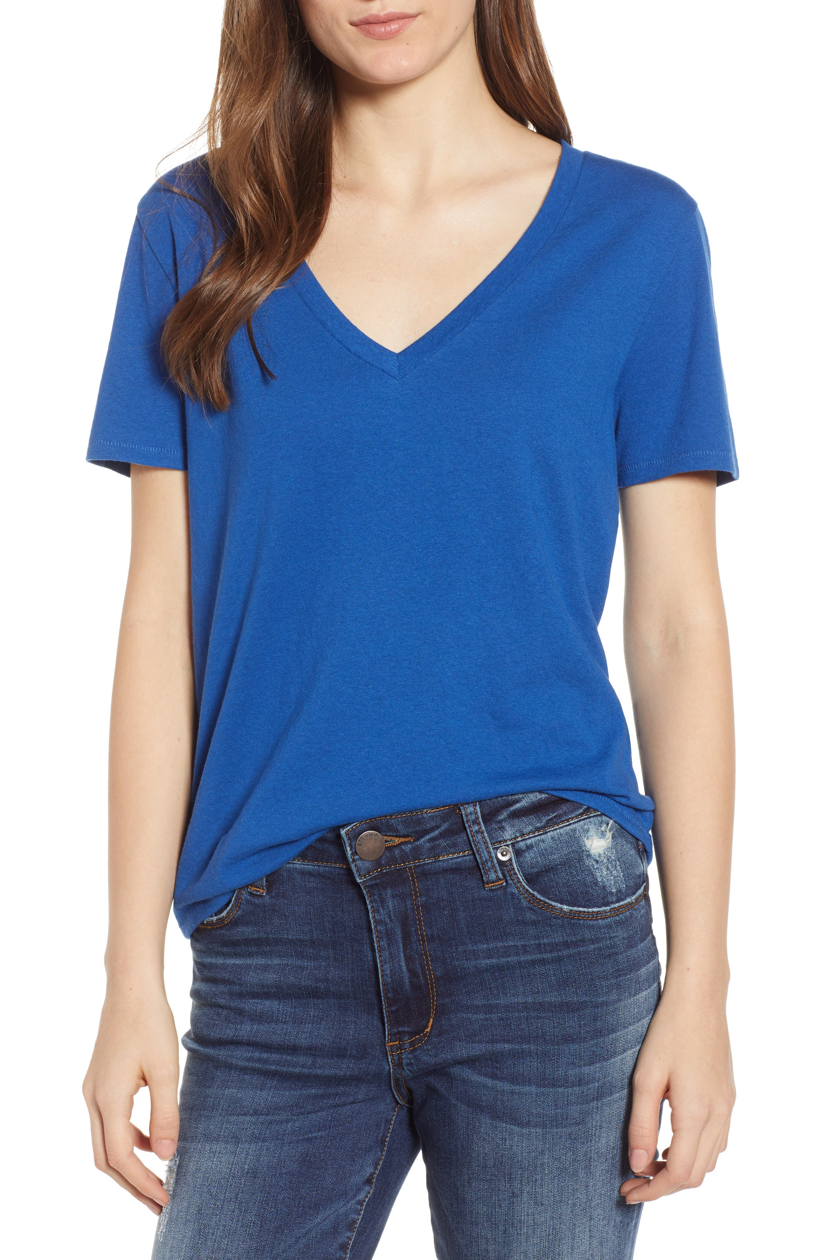 BP., V-Neck Tee, Main thumbnail 1, color, BLUE MONACO