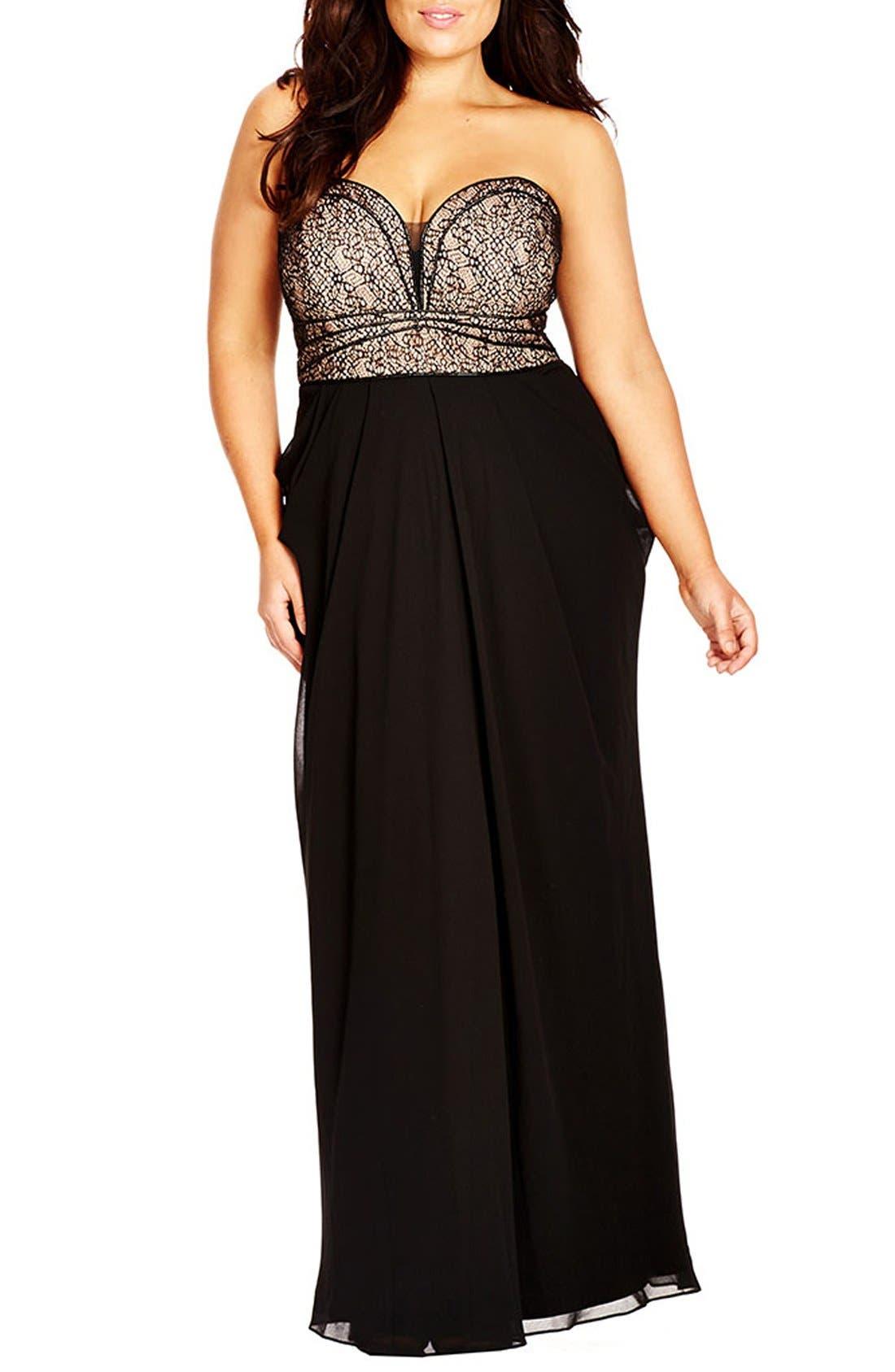 CITY CHIC, Motown Strapless Lace & Chiffon Maxi Dress, Main thumbnail 1, color, BLACK