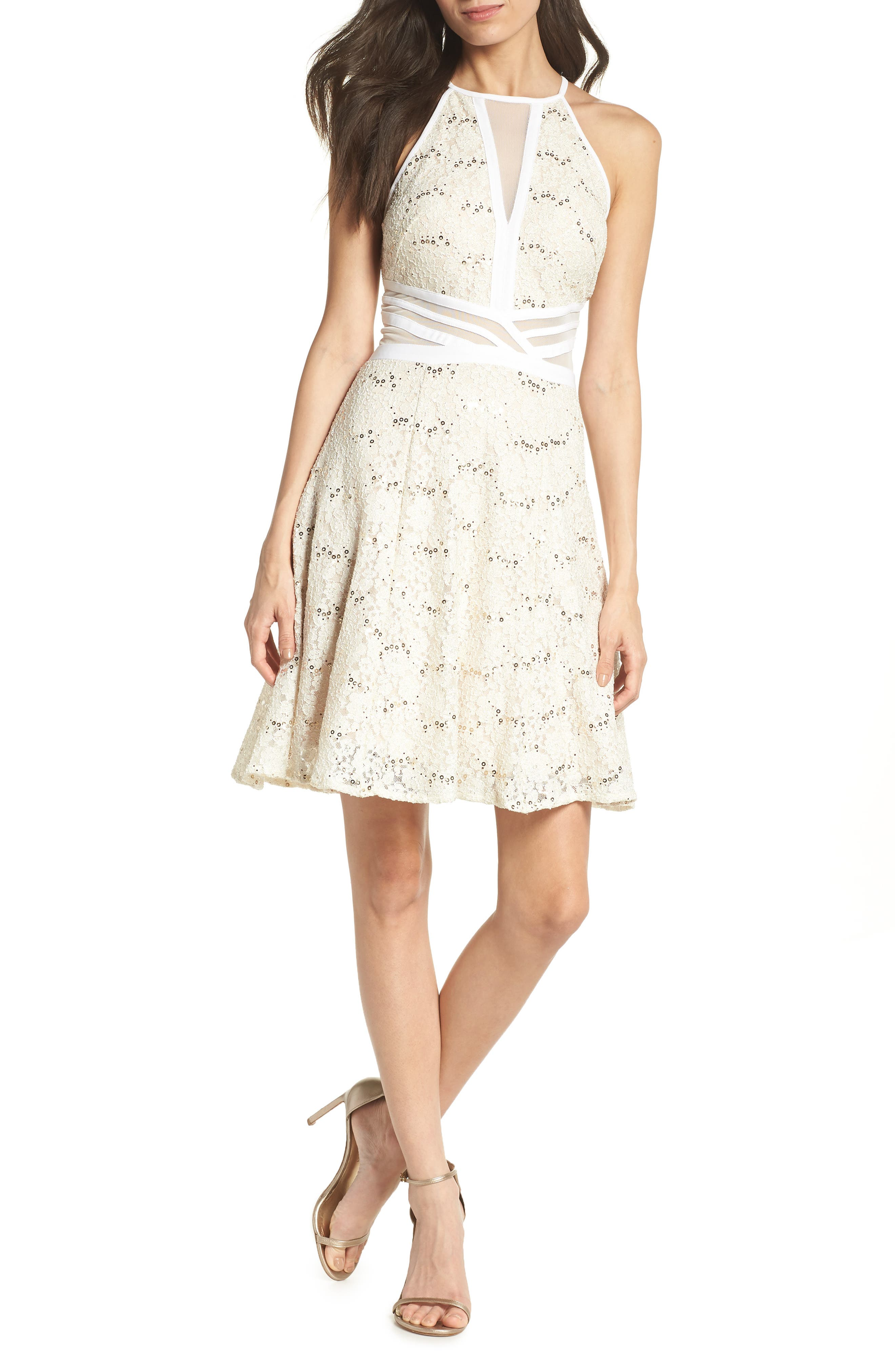 Morgan & Co. Sheer Inset Lace Fit & Flare Dress, /12 - Ivory