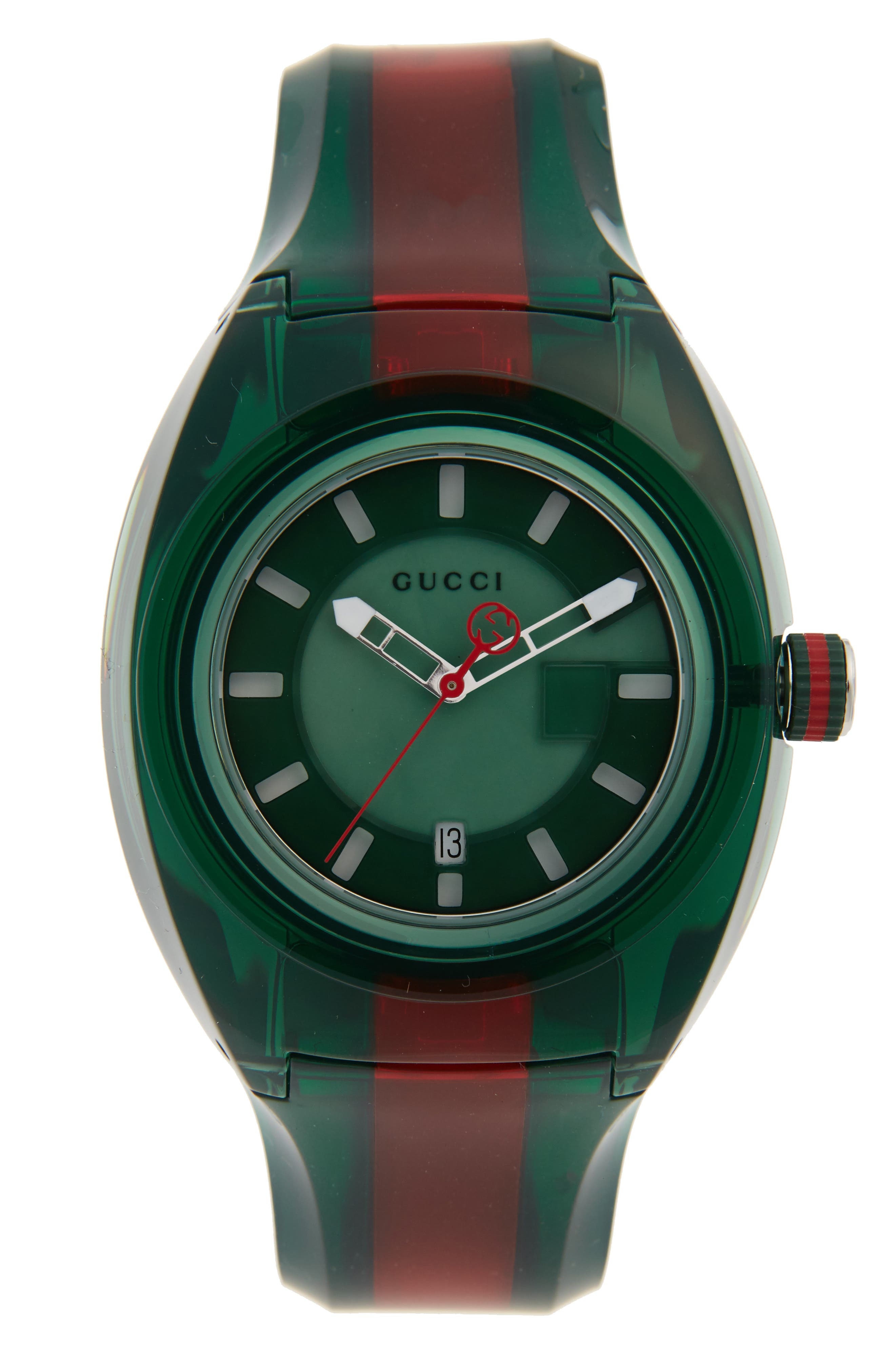 GUCCI, Sync Transparent Rubber Strap Watch, 46mm, Main thumbnail 1, color, GREEN