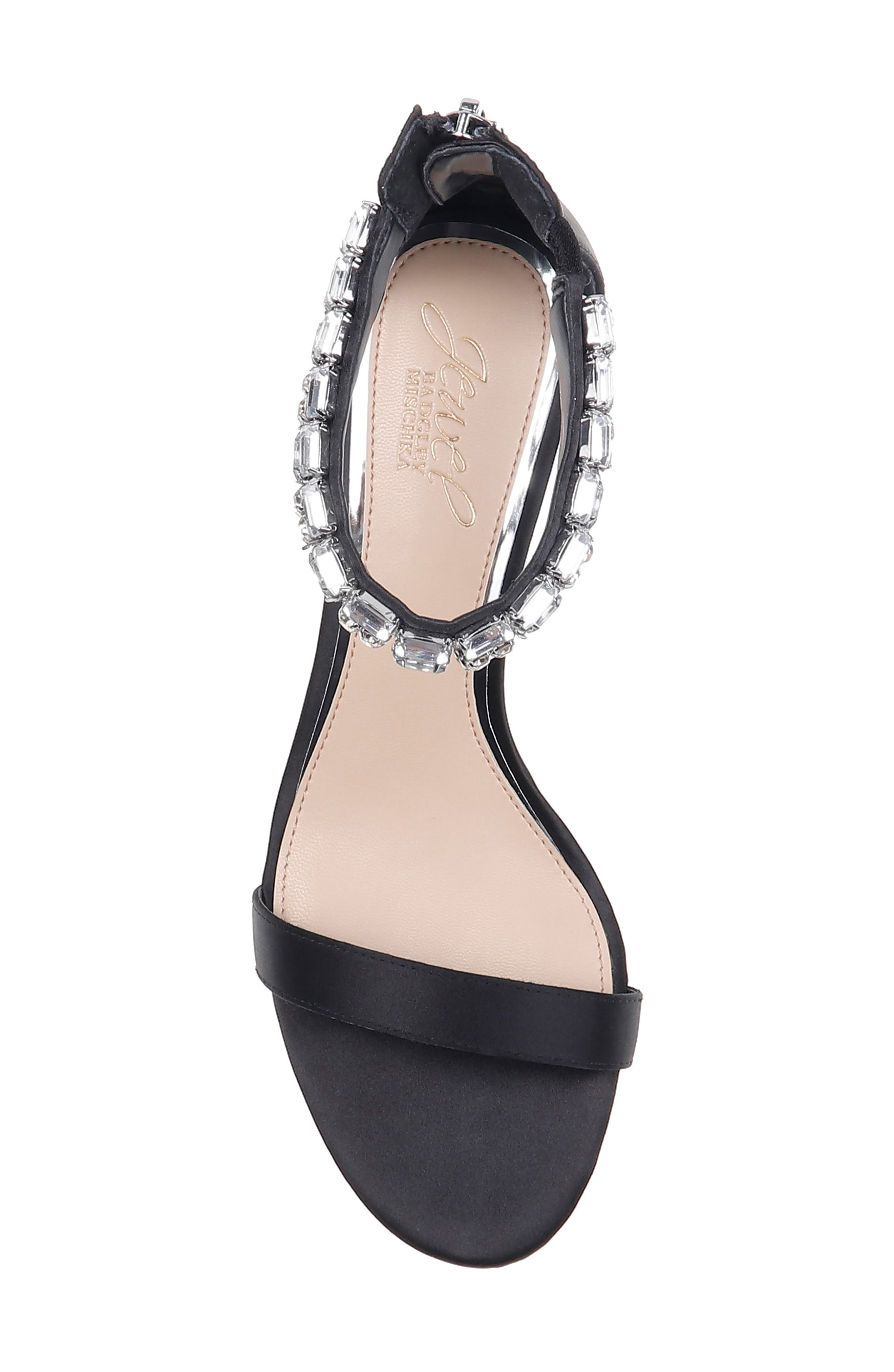 JEWEL BADGLEY MISCHKA, Katerina Ankle Strap Sandal, Alternate thumbnail 5, color, BLACK CRYSTAL SATIN