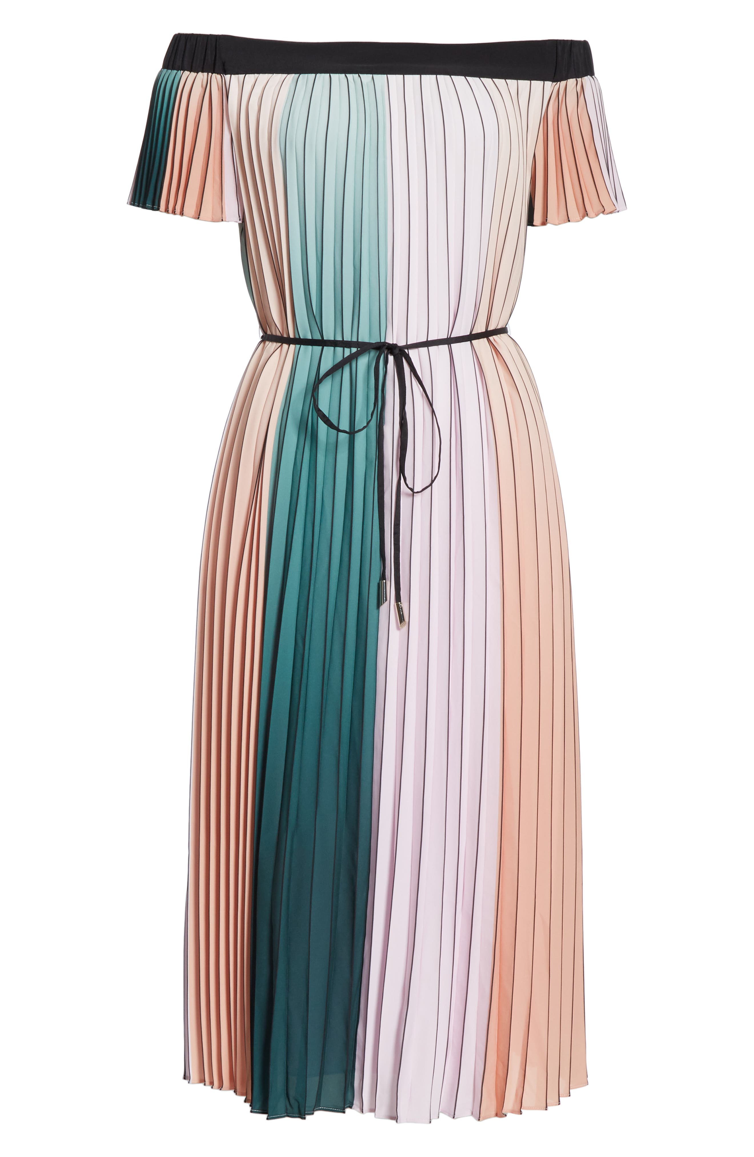 TED BAKER LONDON, Fernee Colorblock Pleated Dress, Alternate thumbnail 7, color, LILAC