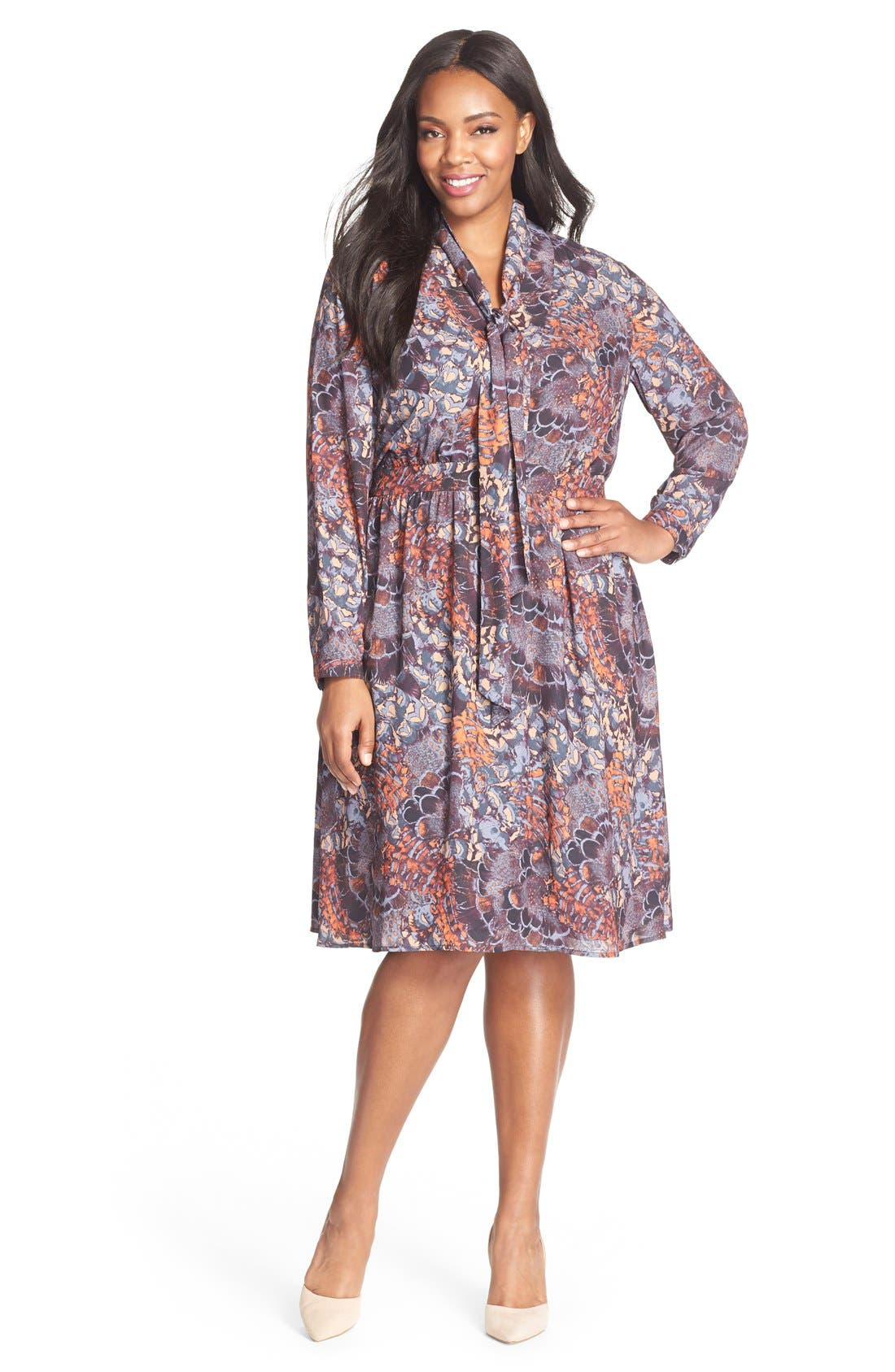 SEJOUR Scarf Print Tie Neck Dress, Main, color, 800