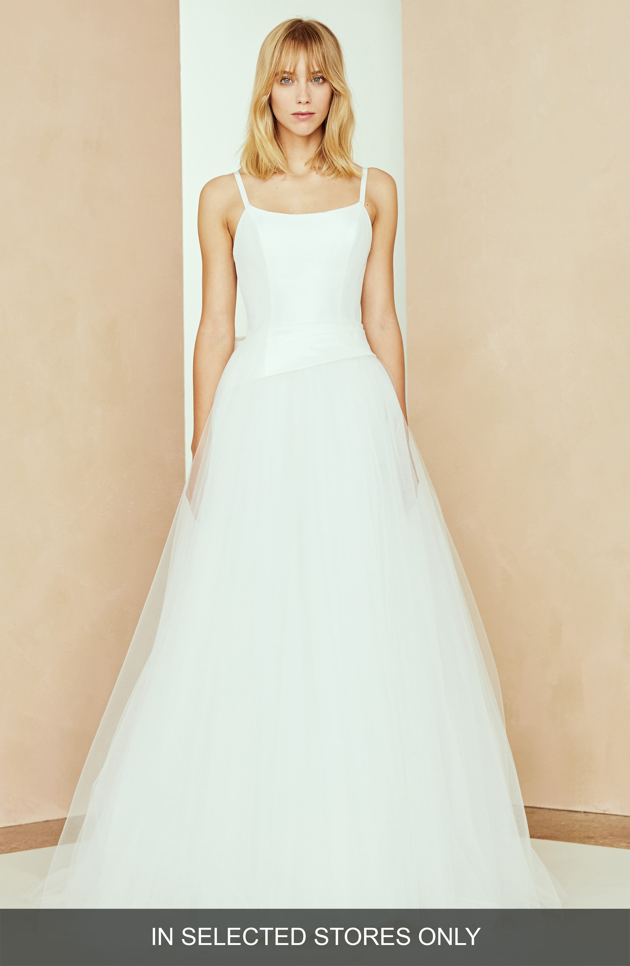 Nouvelle Amsale Lilah Bow Back Taffeta & Tulle Ballgown, Size - White