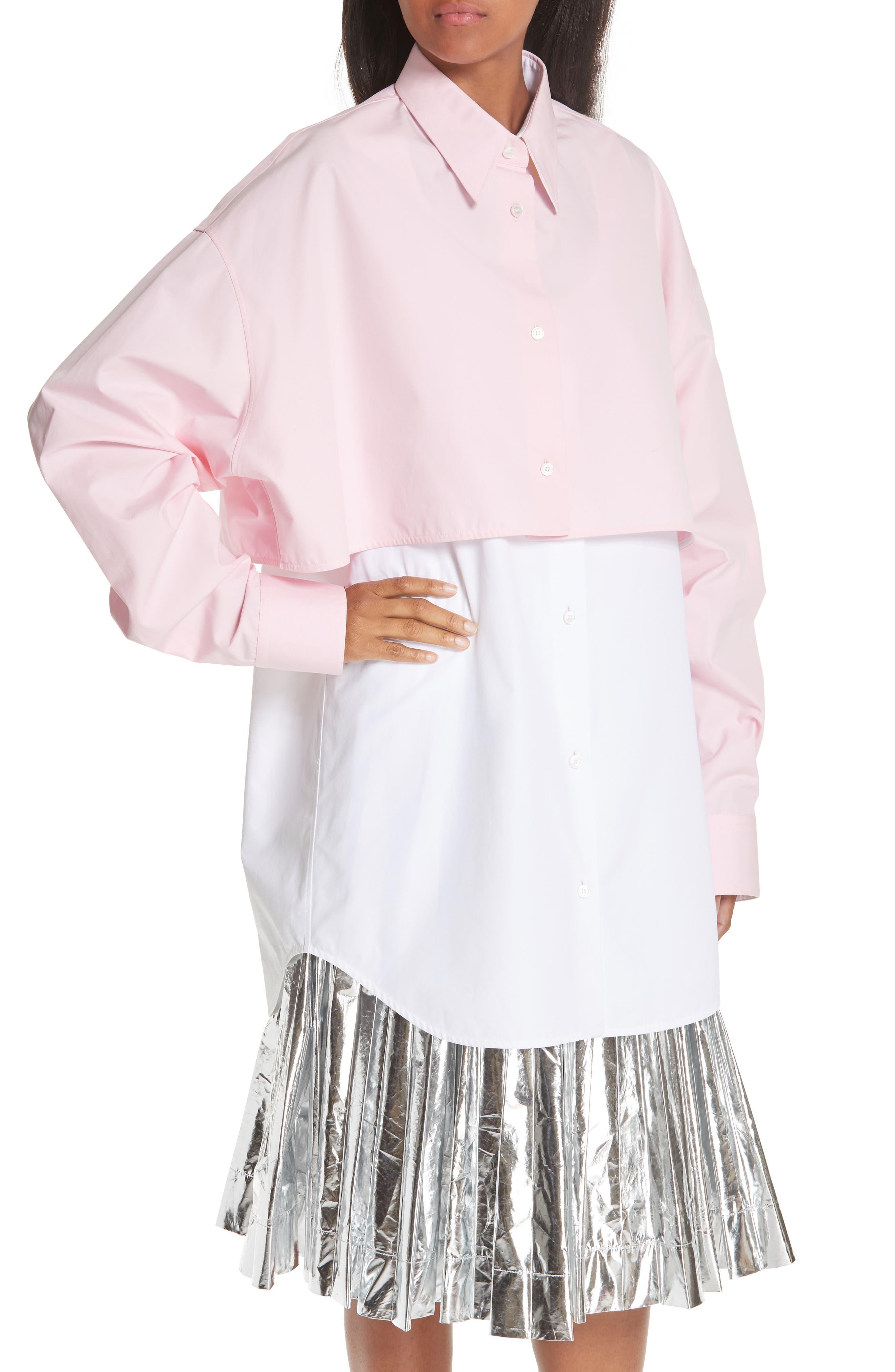 CALVIN KLEIN 205W39NYC, Layered Cotton Poplin Shirt, Alternate thumbnail 6, color, ROSE OPTIC WHITE