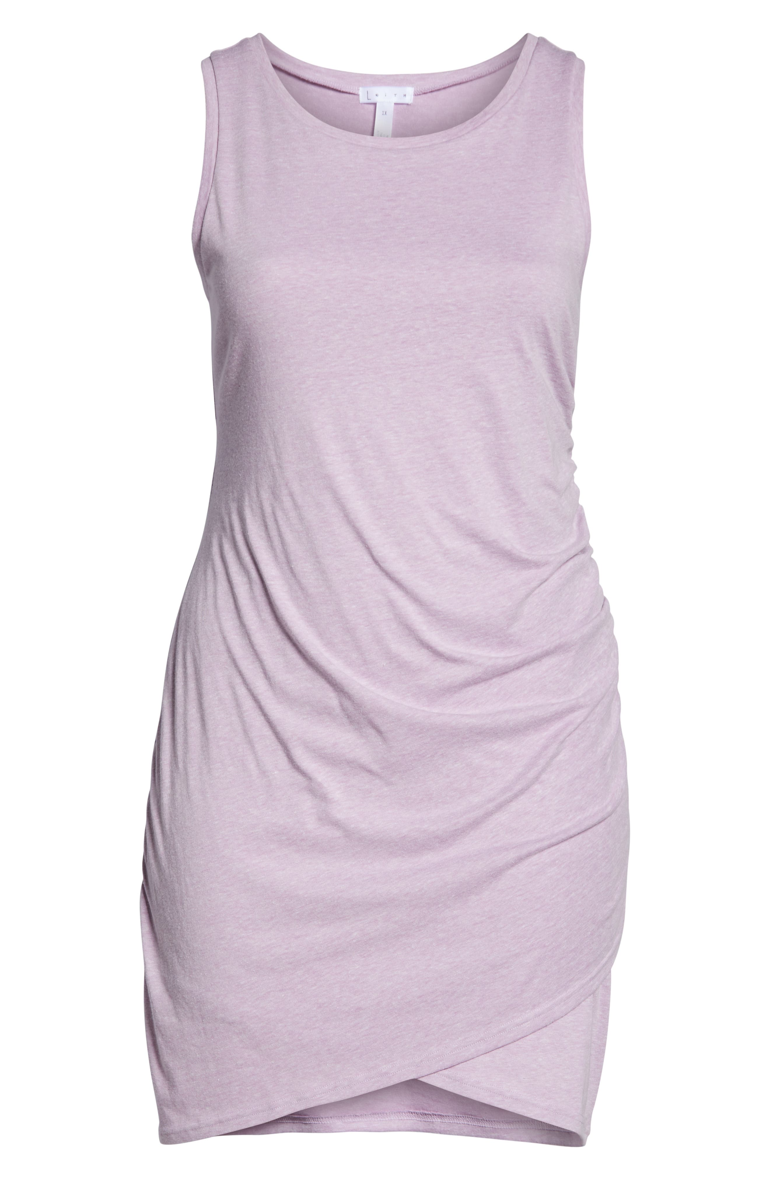 LEITH, Ruched Sheath Dress, Alternate thumbnail 7, color, PURPLE GALE HEATHER