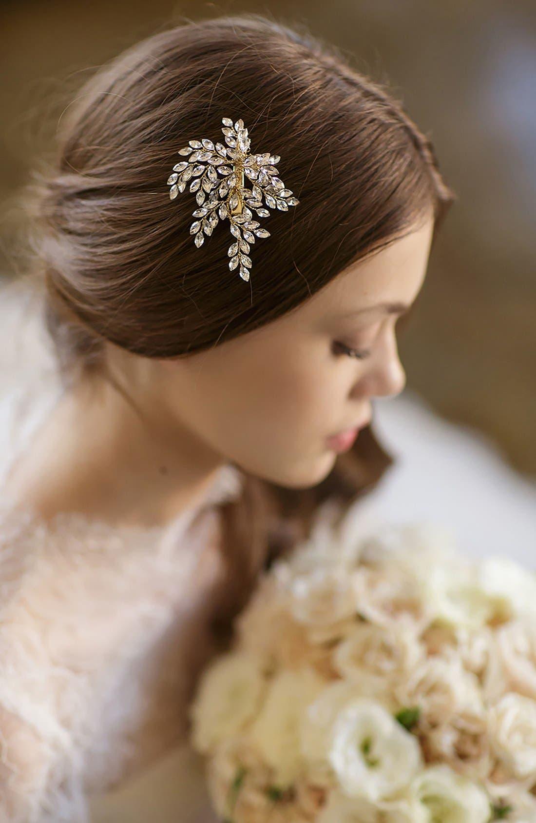 BRIDES & HAIRPINS, 'Sahara' Crystal Leaf Bendable Hair Clip, Alternate thumbnail 3, color, GOLD