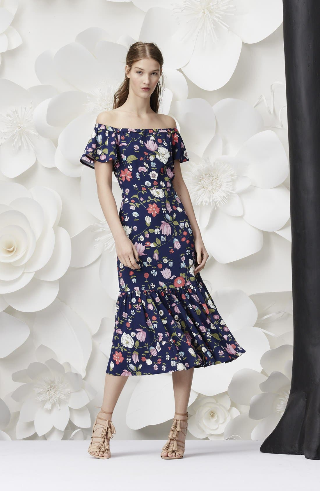 REBECCA TAYLOR, Off the Shoulder Floral Print Dress, Alternate thumbnail 6, color, 510