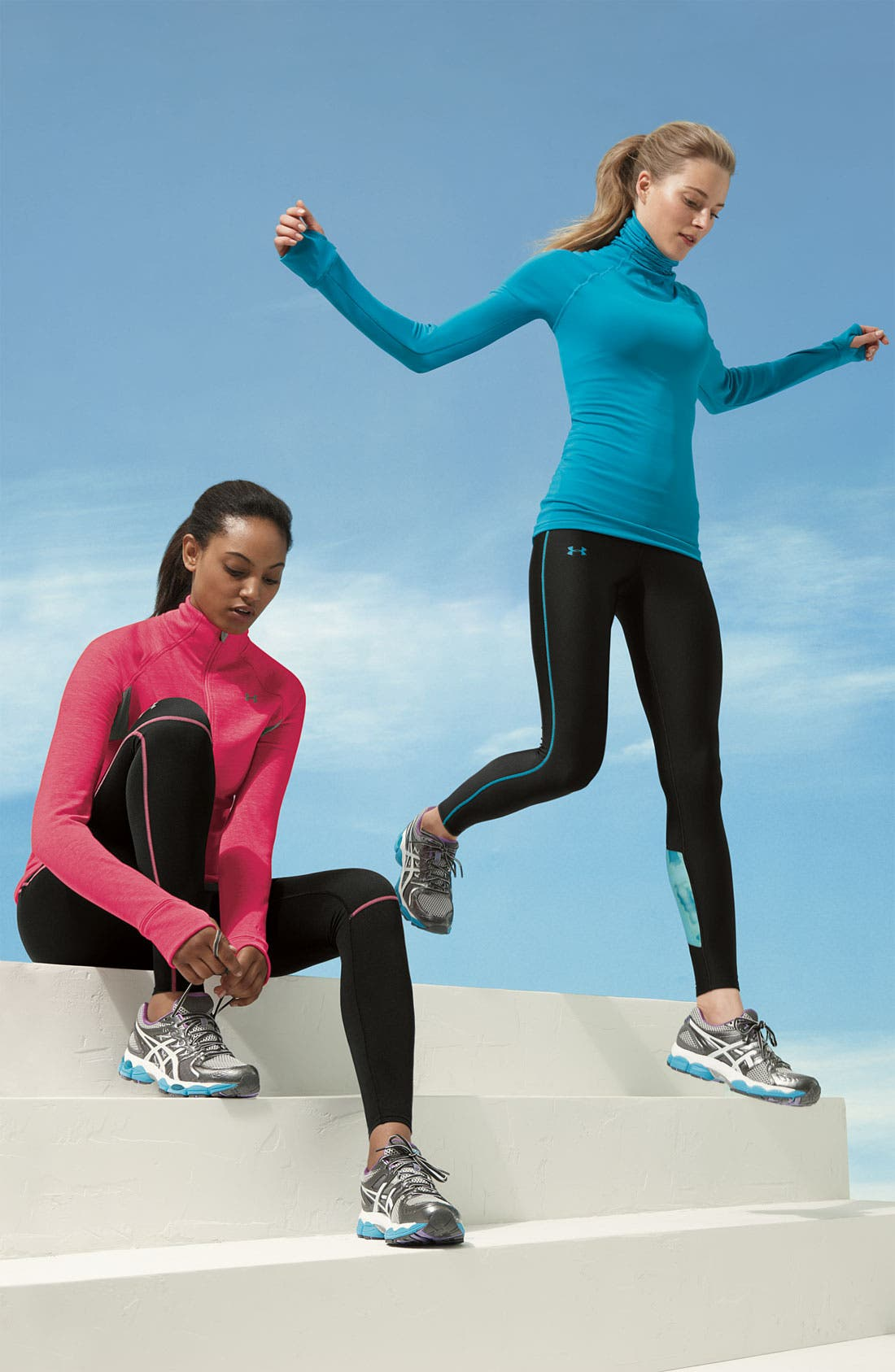UNDER ARMOUR, ColdGear<sup>®</sup> Print Blocked Tights, Alternate thumbnail 6, color, 010
