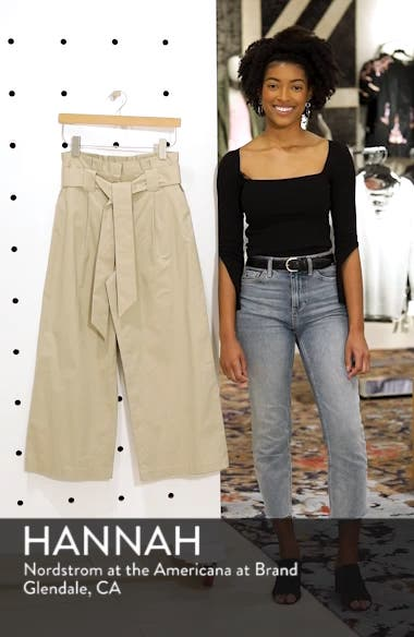 Paperbag Waist Belted Wide Leg Crop Pants, sales video thumbnail