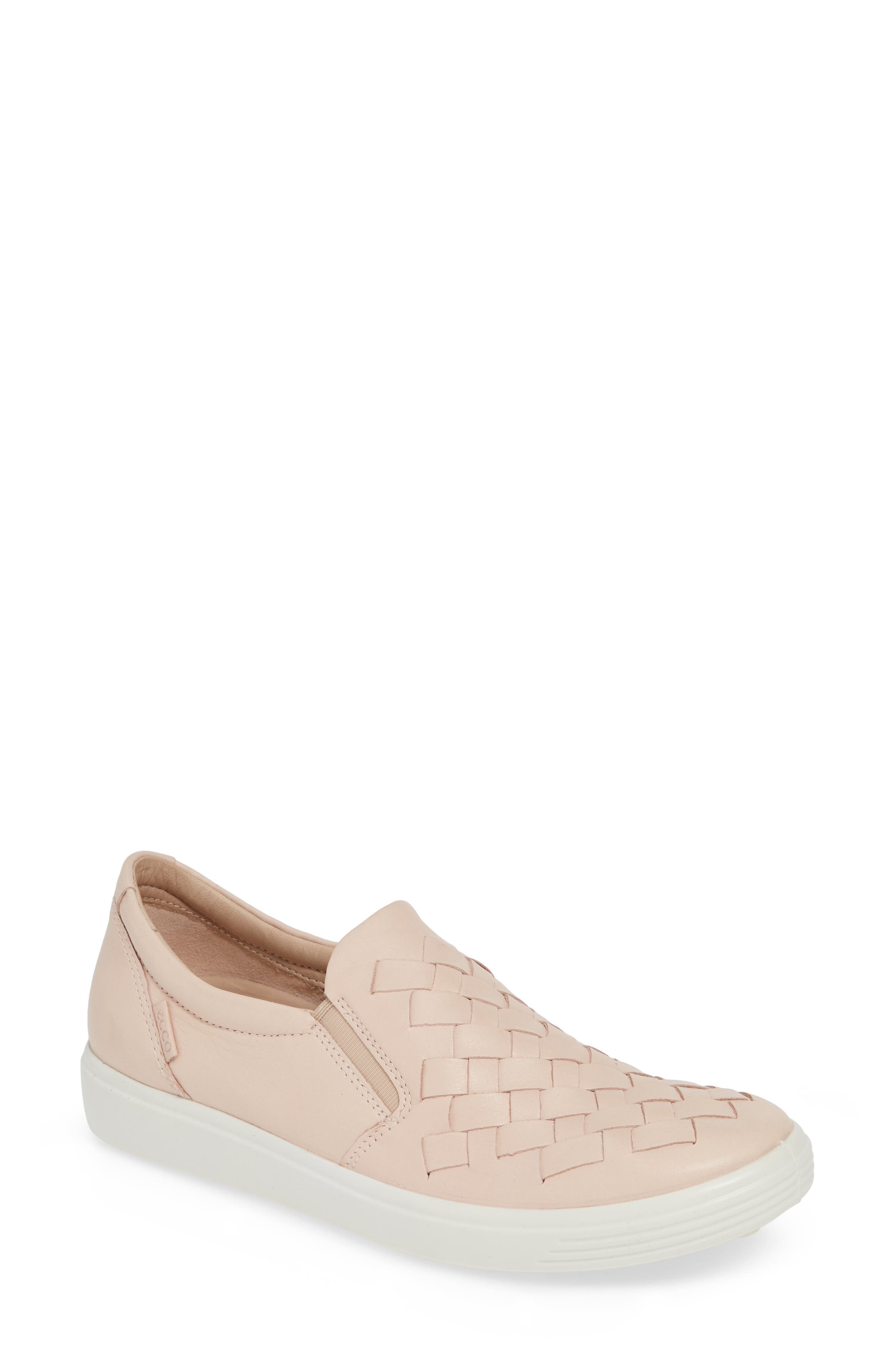 ECCO, Soft 7 Woven Slip-On Sneaker, Main thumbnail 1, color, ROSE DUST LEATHER