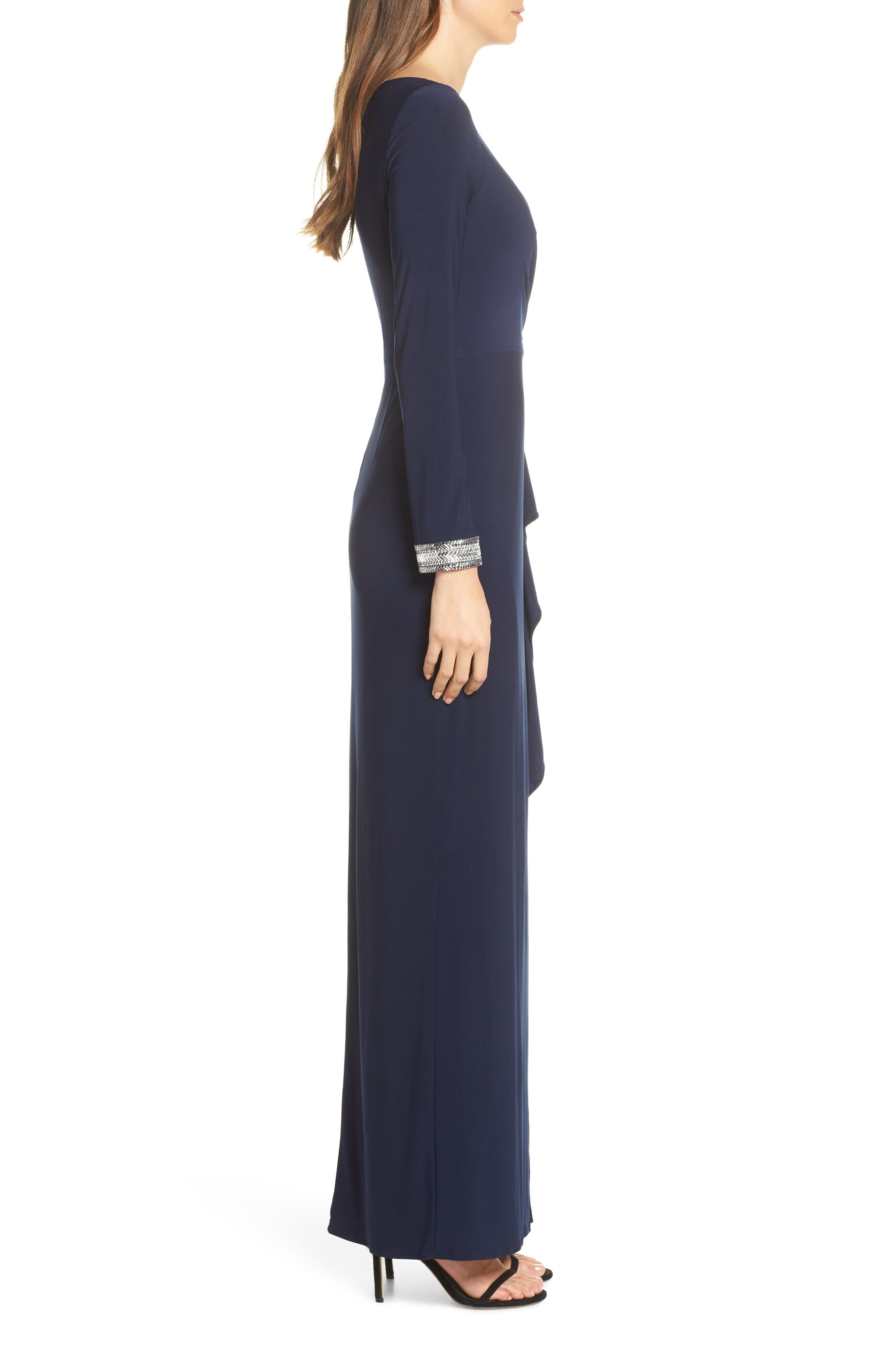 VINCE CAMUTO, Beaded Cuff Ruched Jersey Dress, Alternate thumbnail 4, color, NAVY