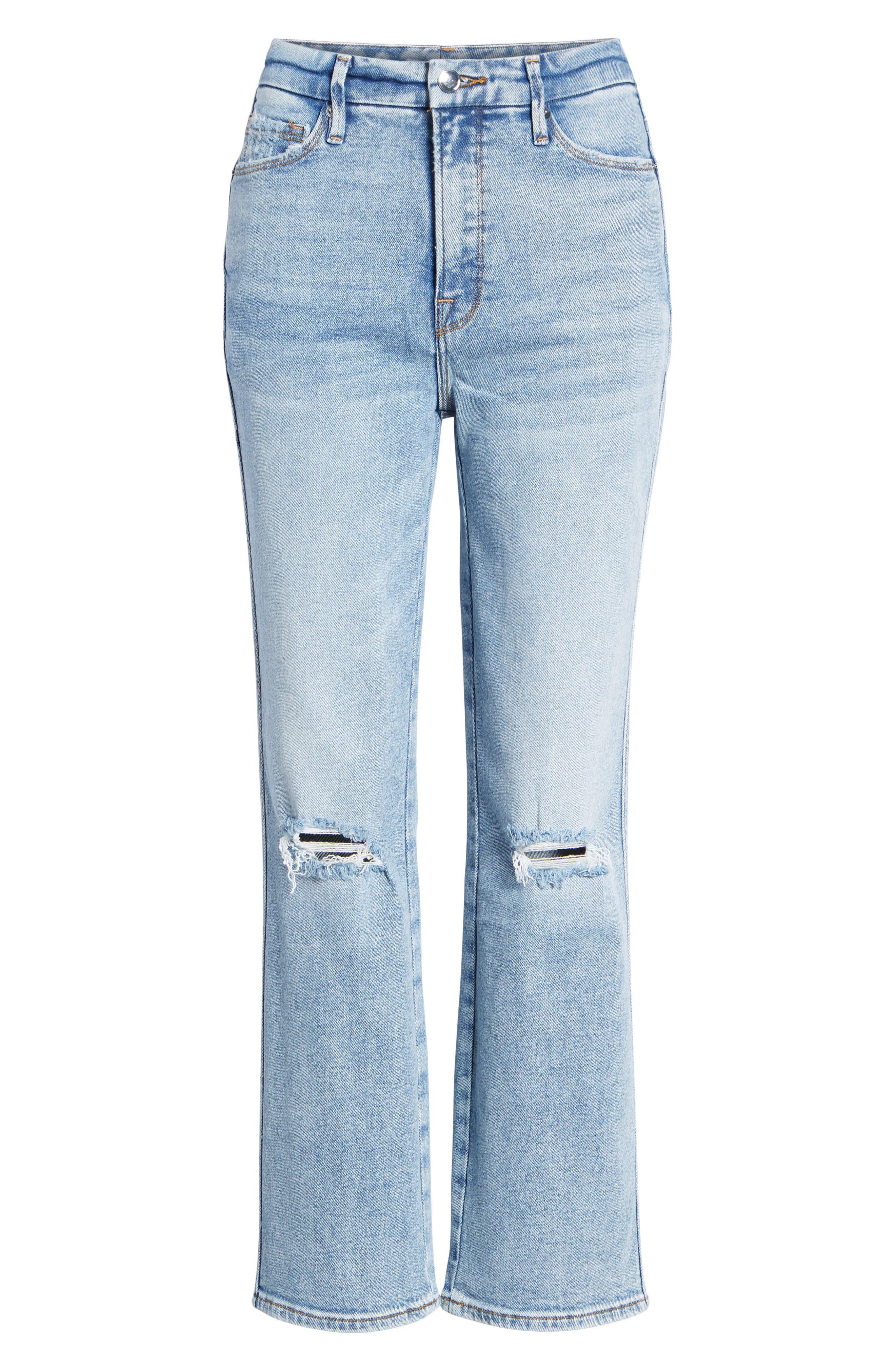 GOOD AMERICAN, Good Curve High Waist Ankle Straight Leg Jeans, Alternate thumbnail 6, color, 401
