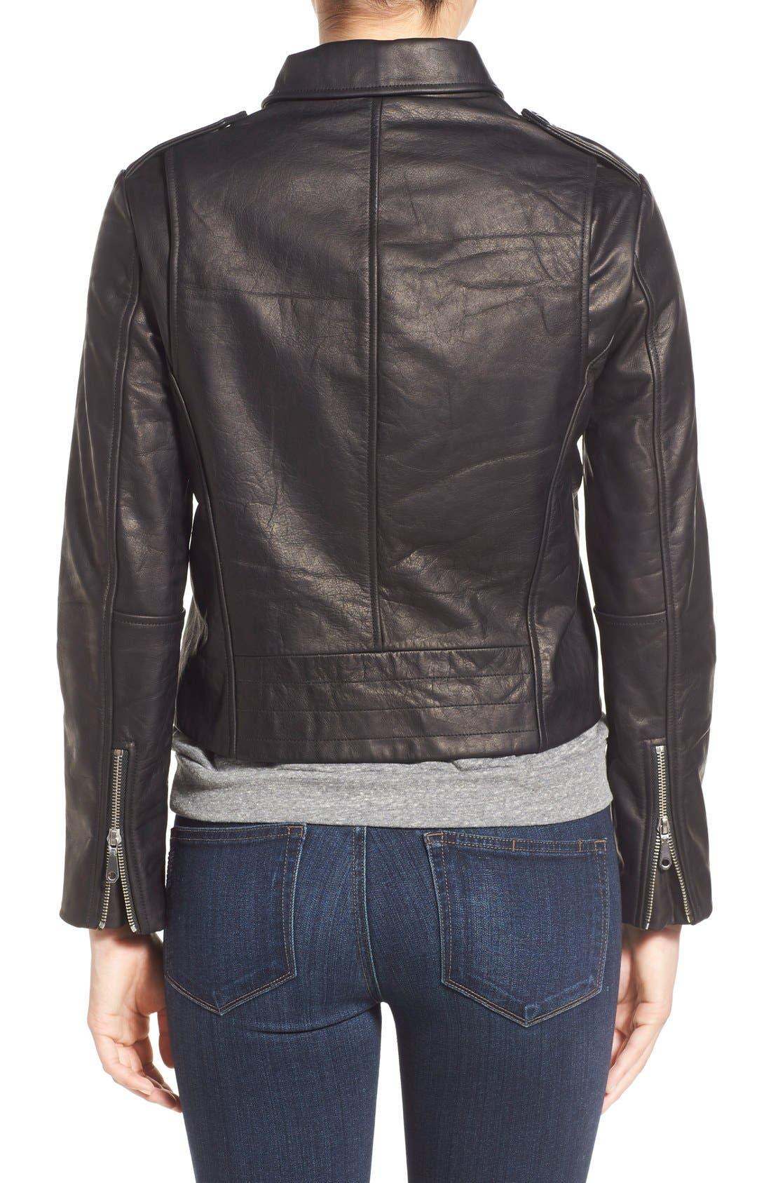 REBECCA MINKOFF, 'Nana' Leather Moto Jacket, Alternate thumbnail 2, color, 001