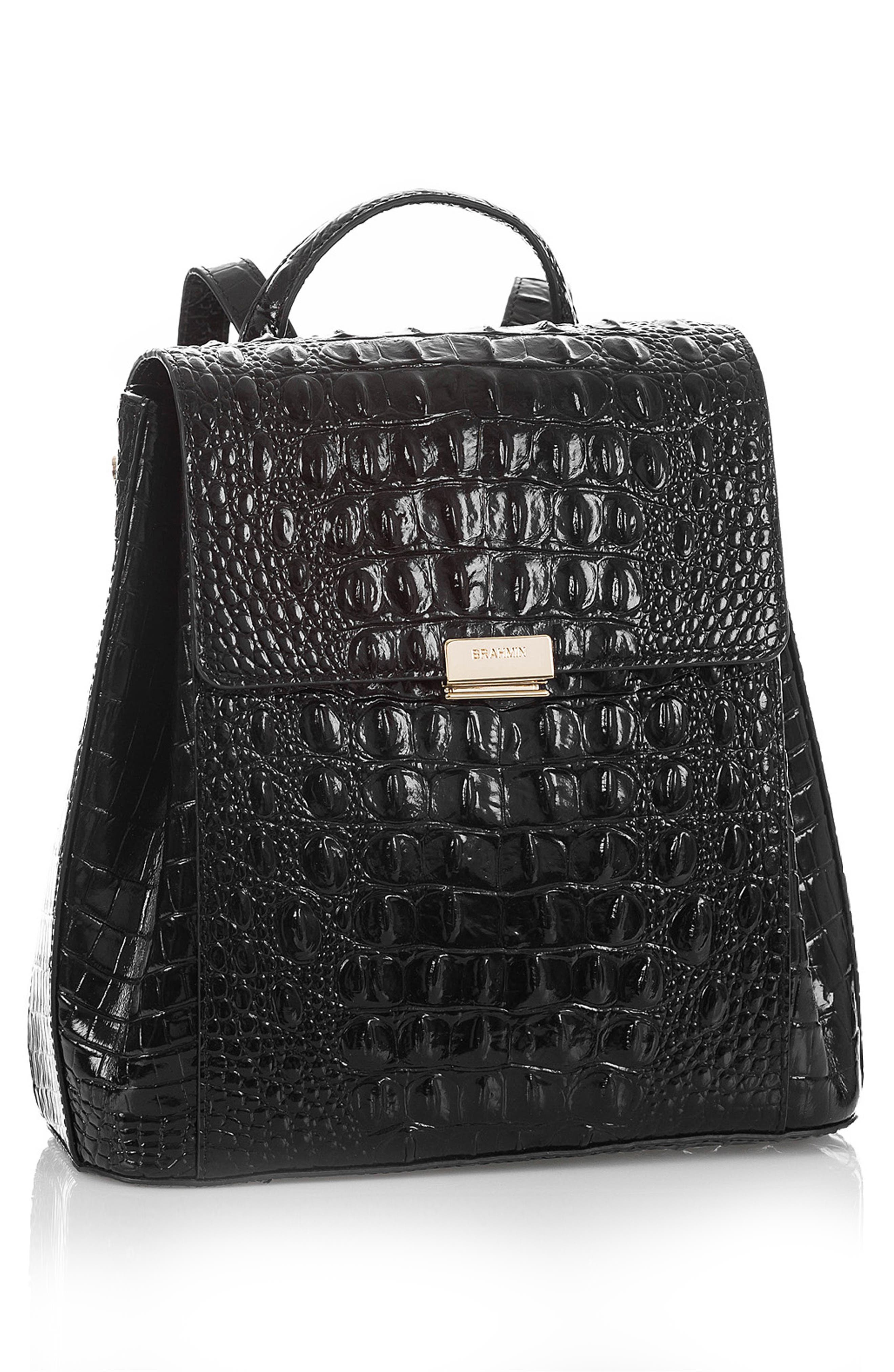BRAHMIN, Margo Croc Embossed Leather Backpack, Alternate thumbnail 5, color, BLACK MELBOURNE