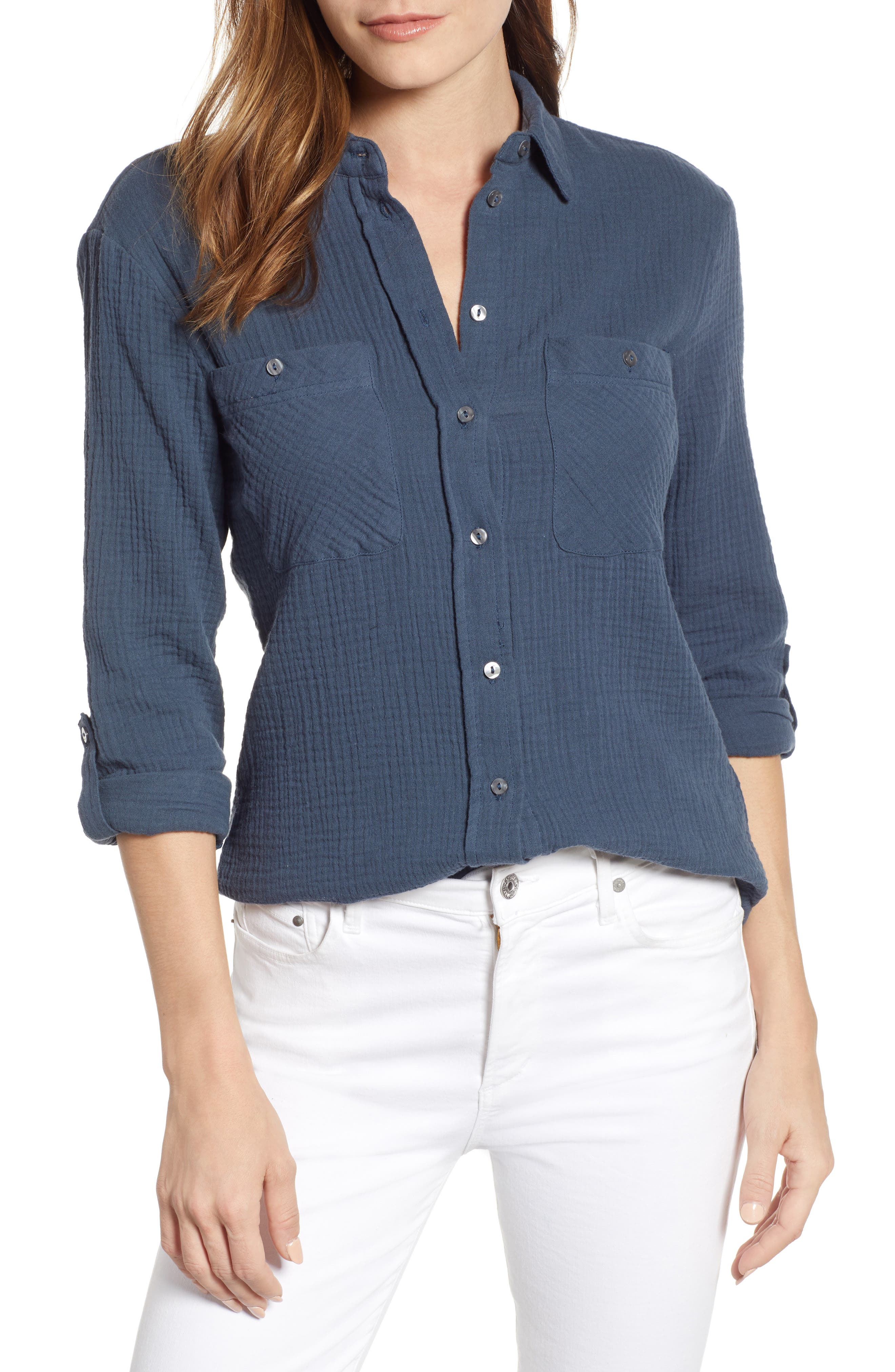 1.STATE, Patch Pocket Gauze Top, Main thumbnail 1, color, MIDNIGHT SKY