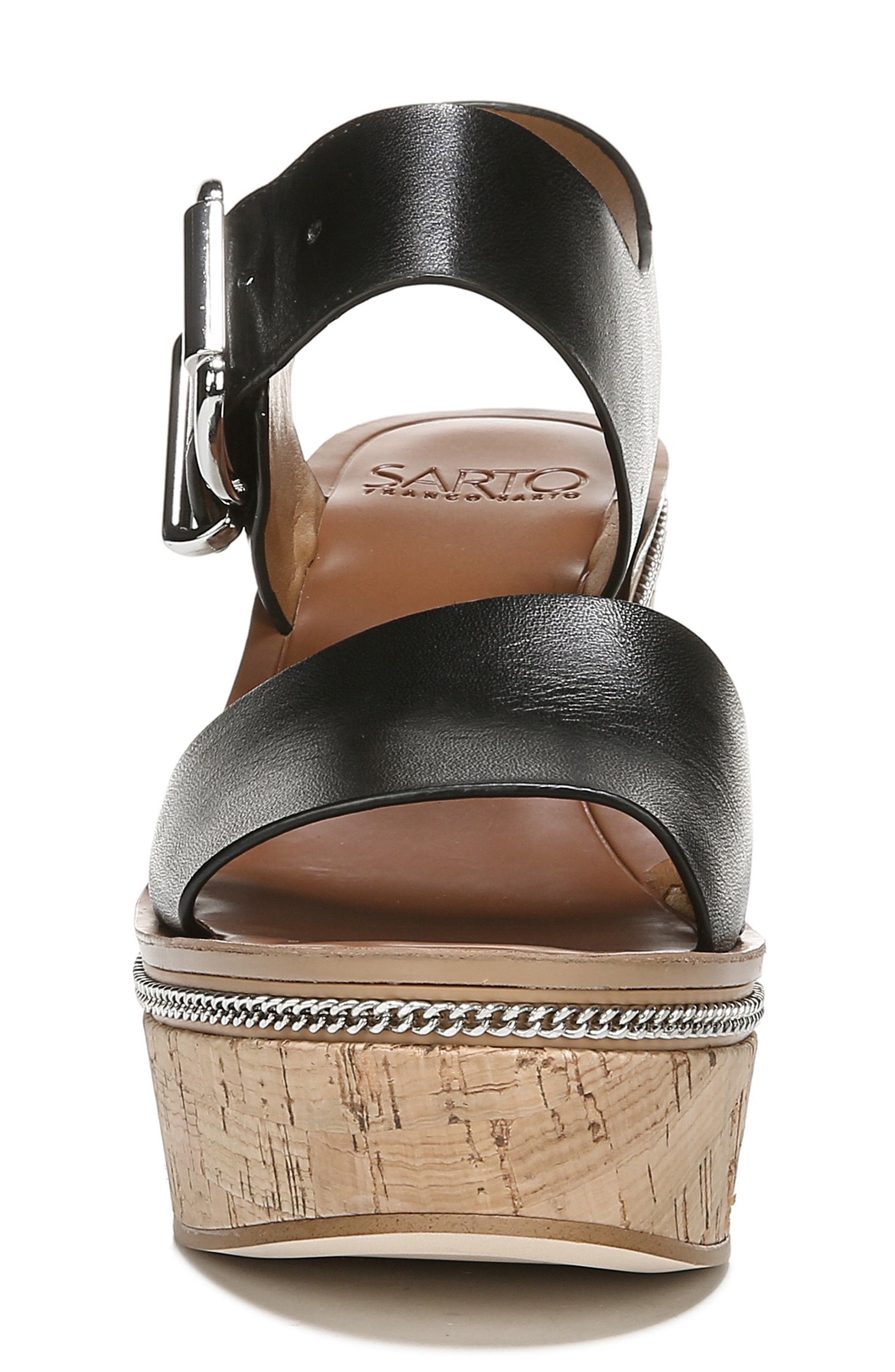 SARTO BY FRANCO SARTO, Polly Wedge Slingback Sandal, Alternate thumbnail 4, color, BLACK LEATHER