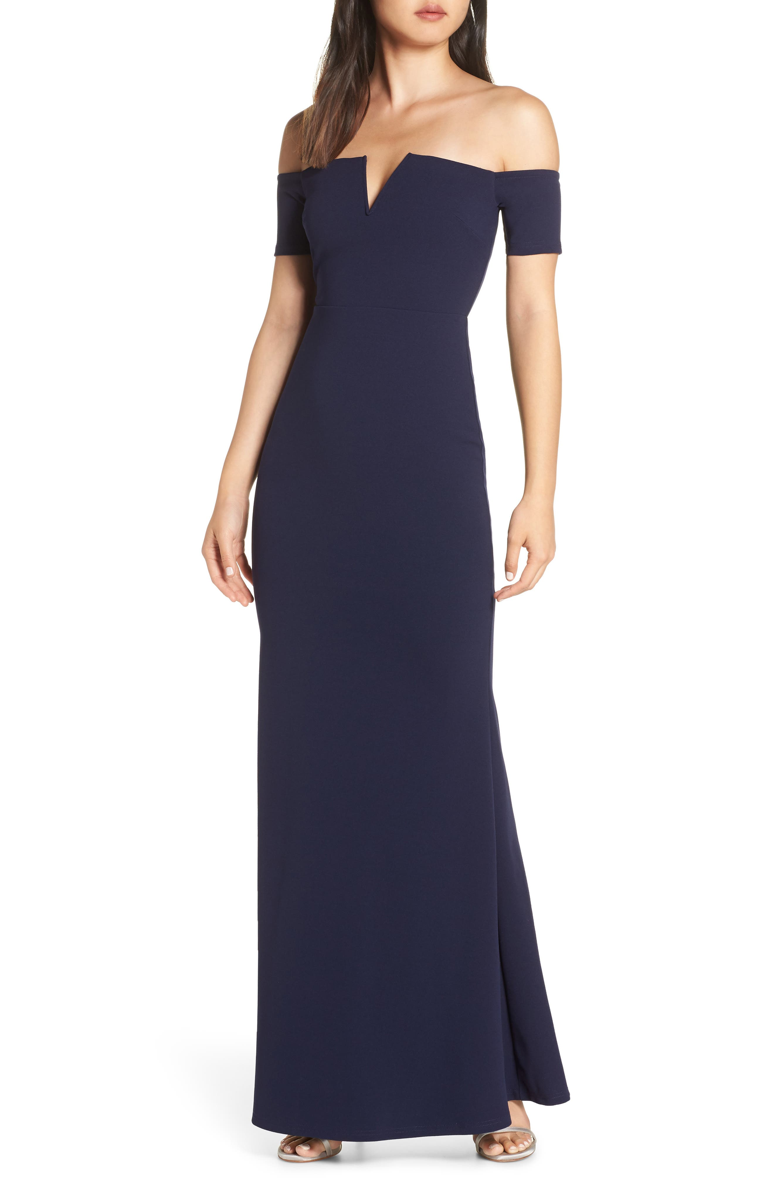 LULUS, Lynne Off the Shoulder Gown, Main thumbnail 1, color, NAVY