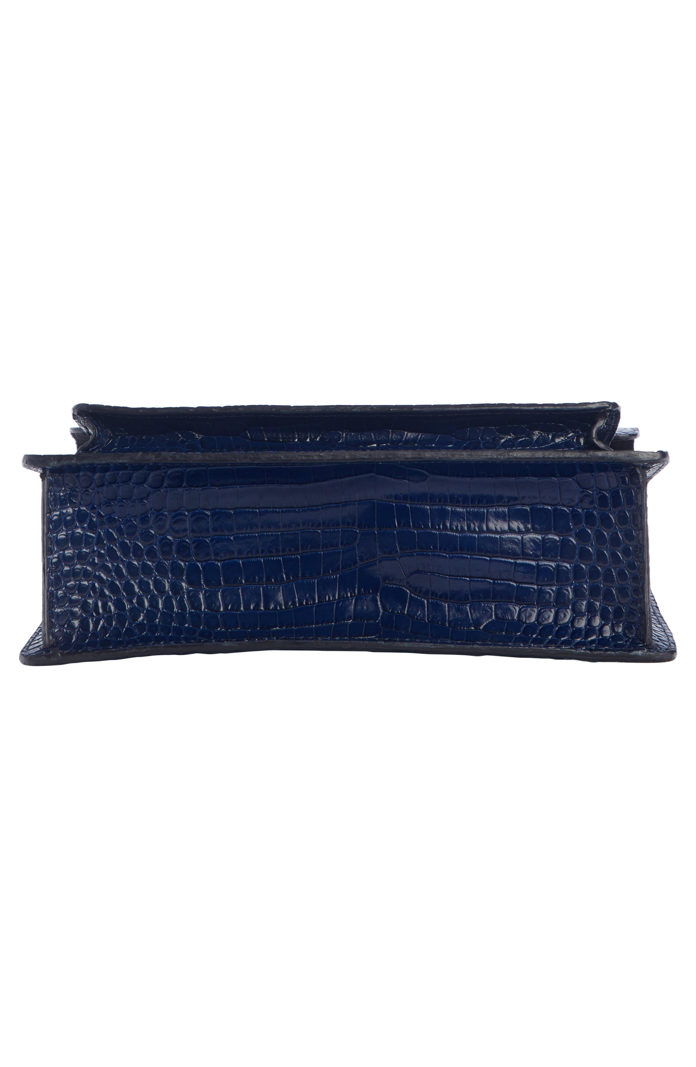 DRIES VAN NOTEN, Croc Embossed Leather Crossbody Bag, Alternate thumbnail 4, color, BLUE