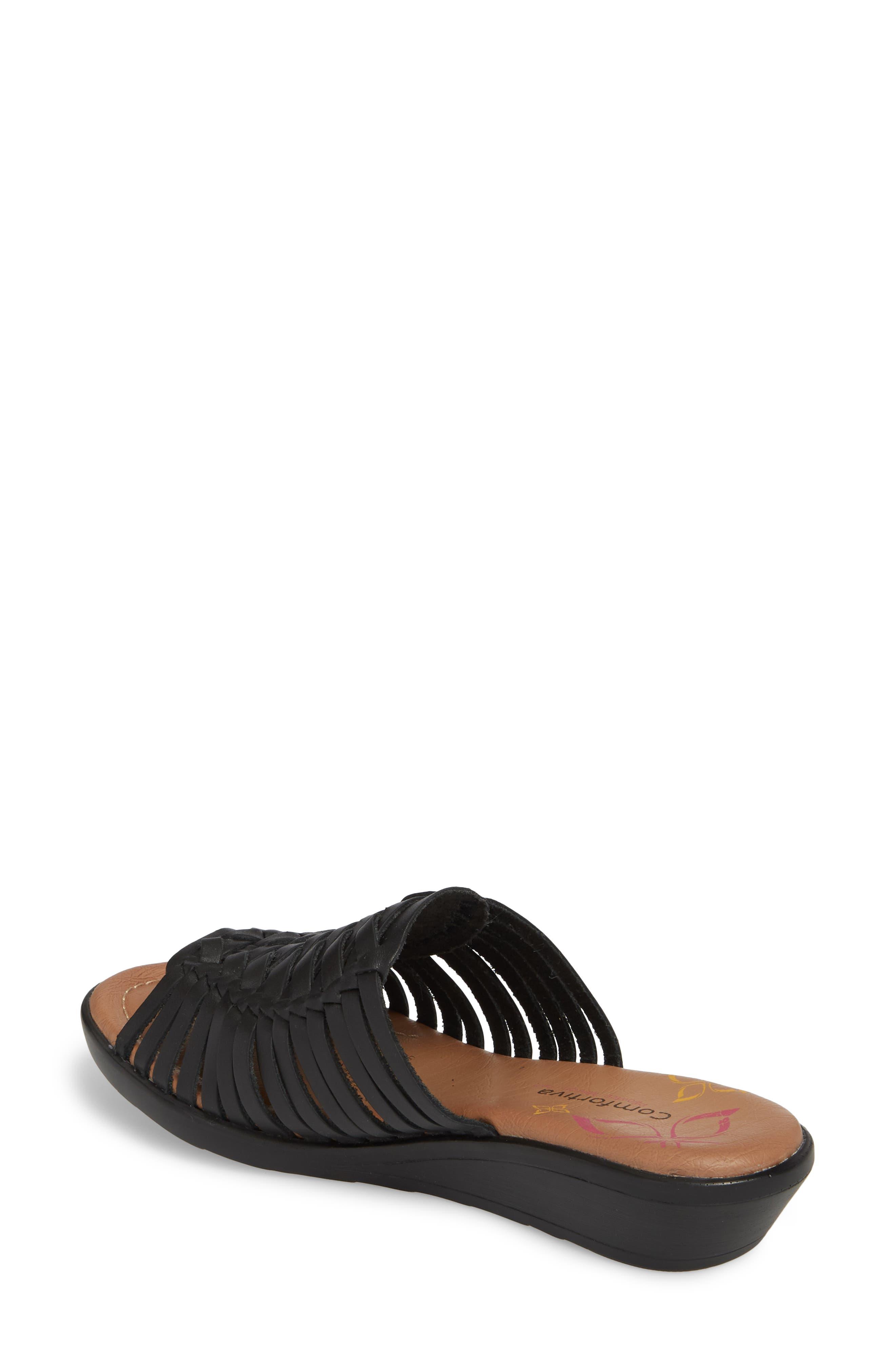 COMFORTIVA, Felida Huarache Slide Sandal, Alternate thumbnail 2, color, BLACK LEATHER