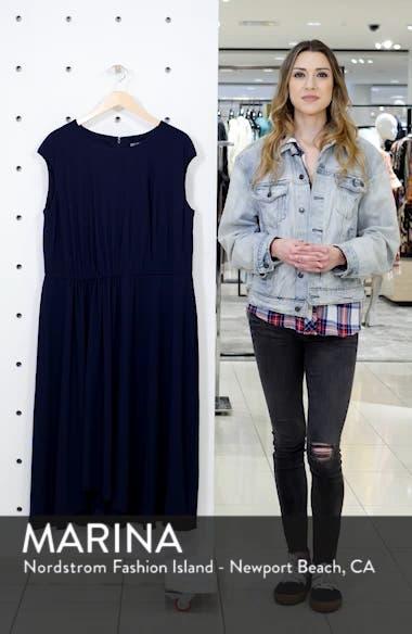 Crystal Side Drape Crepe Midi Dress, sales video thumbnail