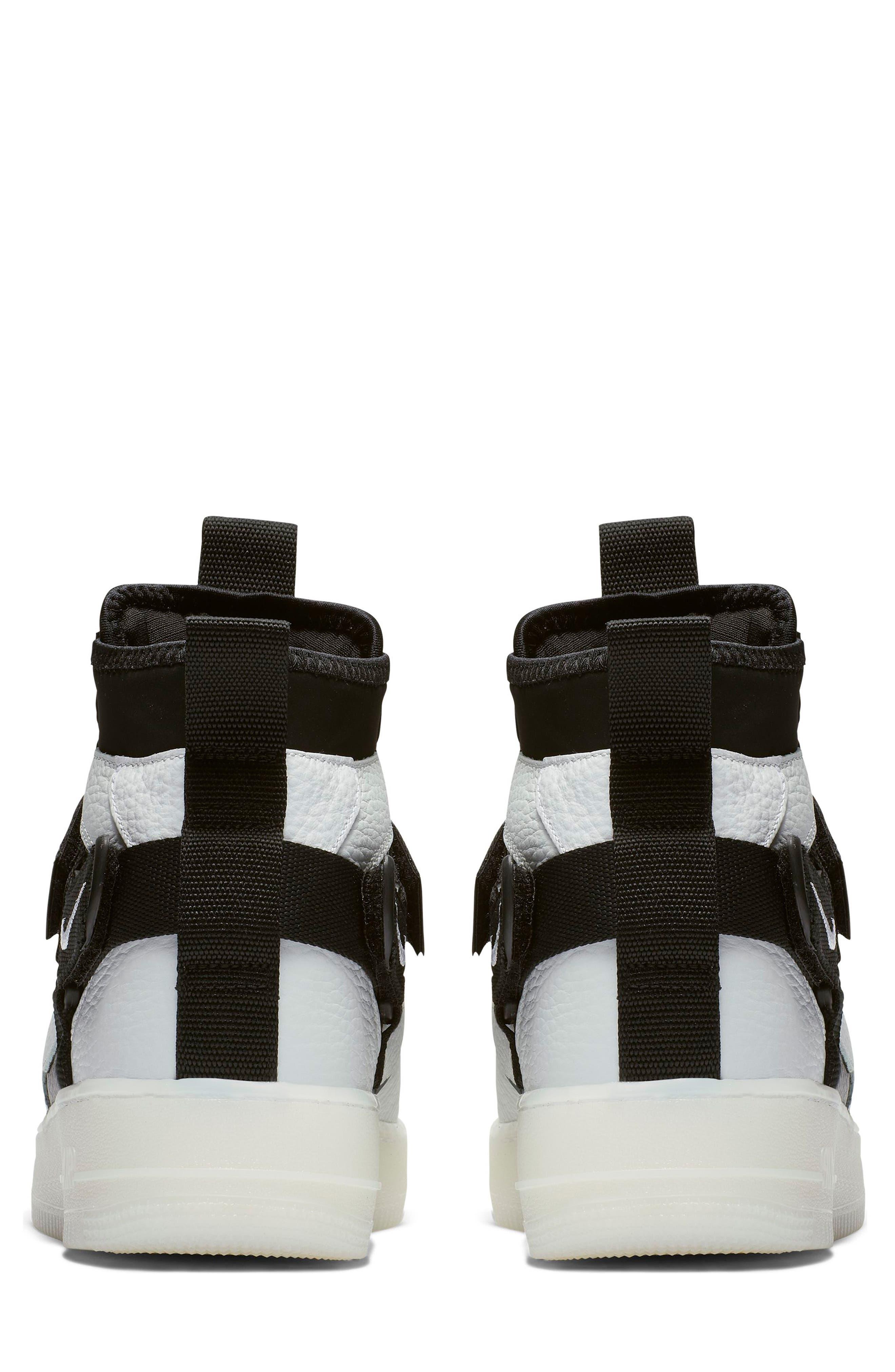 NIKE, Air Force 1 Utility Mid Sneaker, Alternate thumbnail 2, color, OFF WHITE/ BLACK/ WHITE