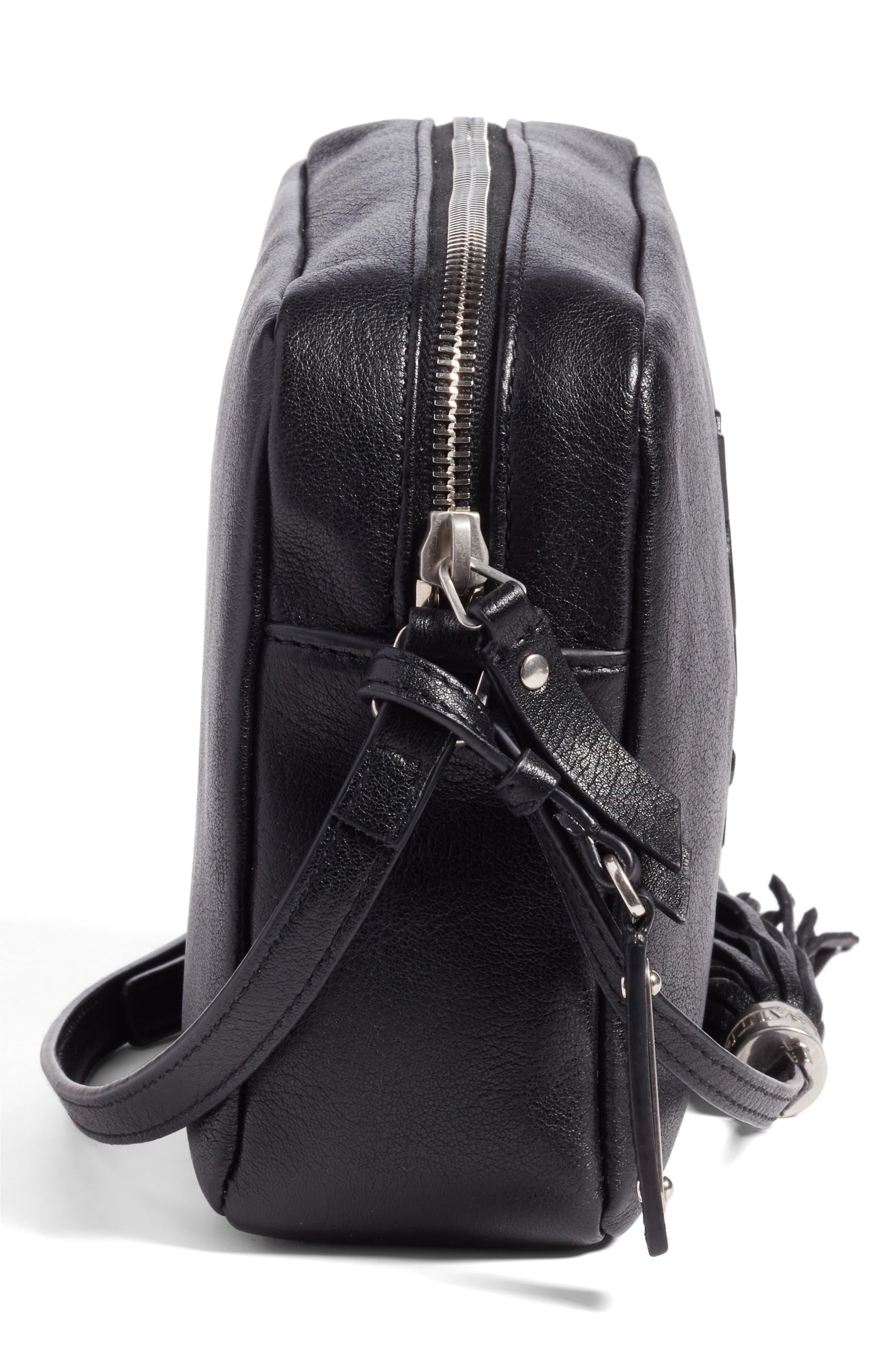 SAINT LAURENT, Small Mono Leather Camera Bag, Alternate thumbnail 5, color, NOIR