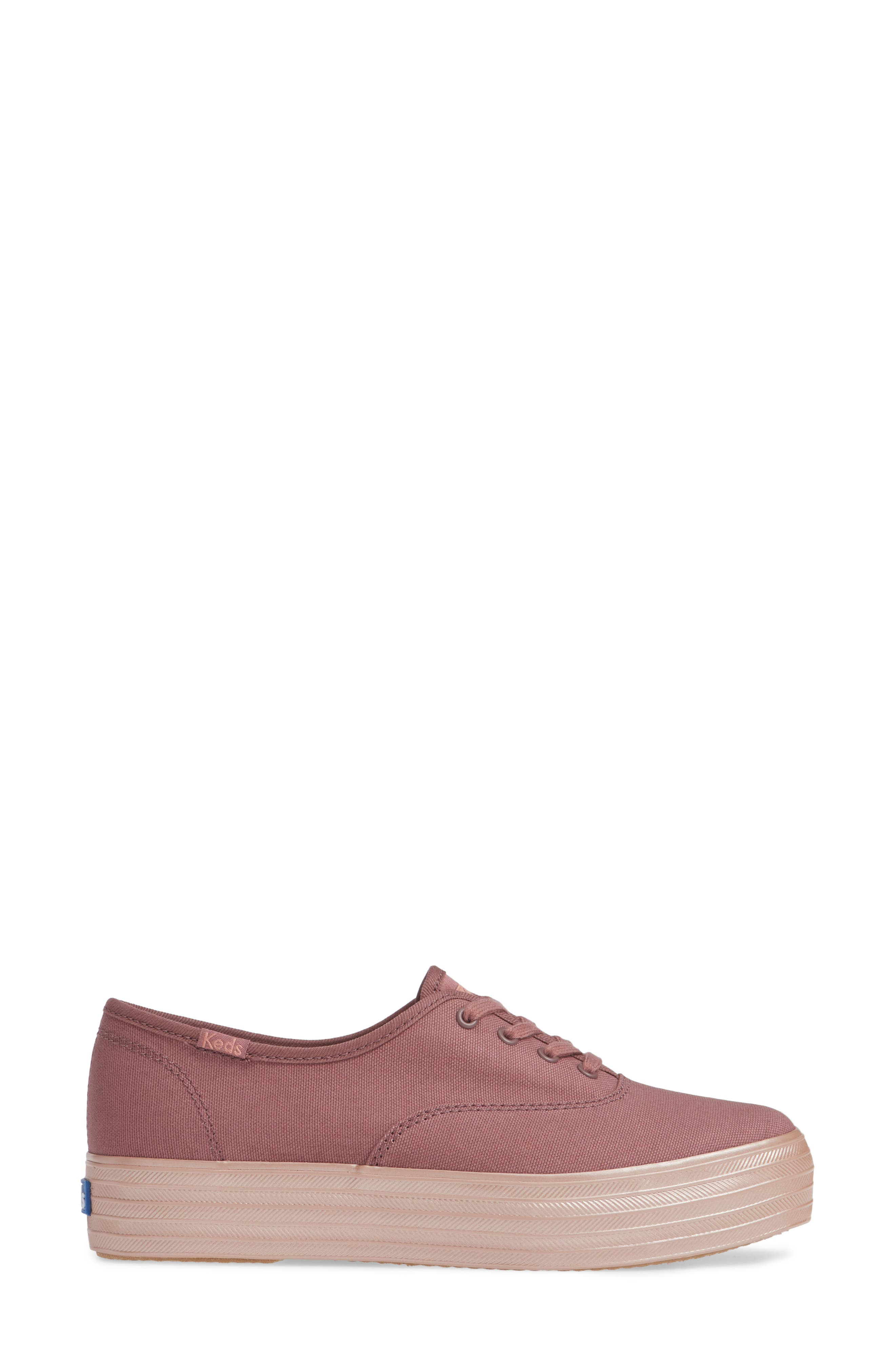 KEDS<SUP>®</SUP>, Triple Shimmer Sneaker, Alternate thumbnail 3, color, MAUVE