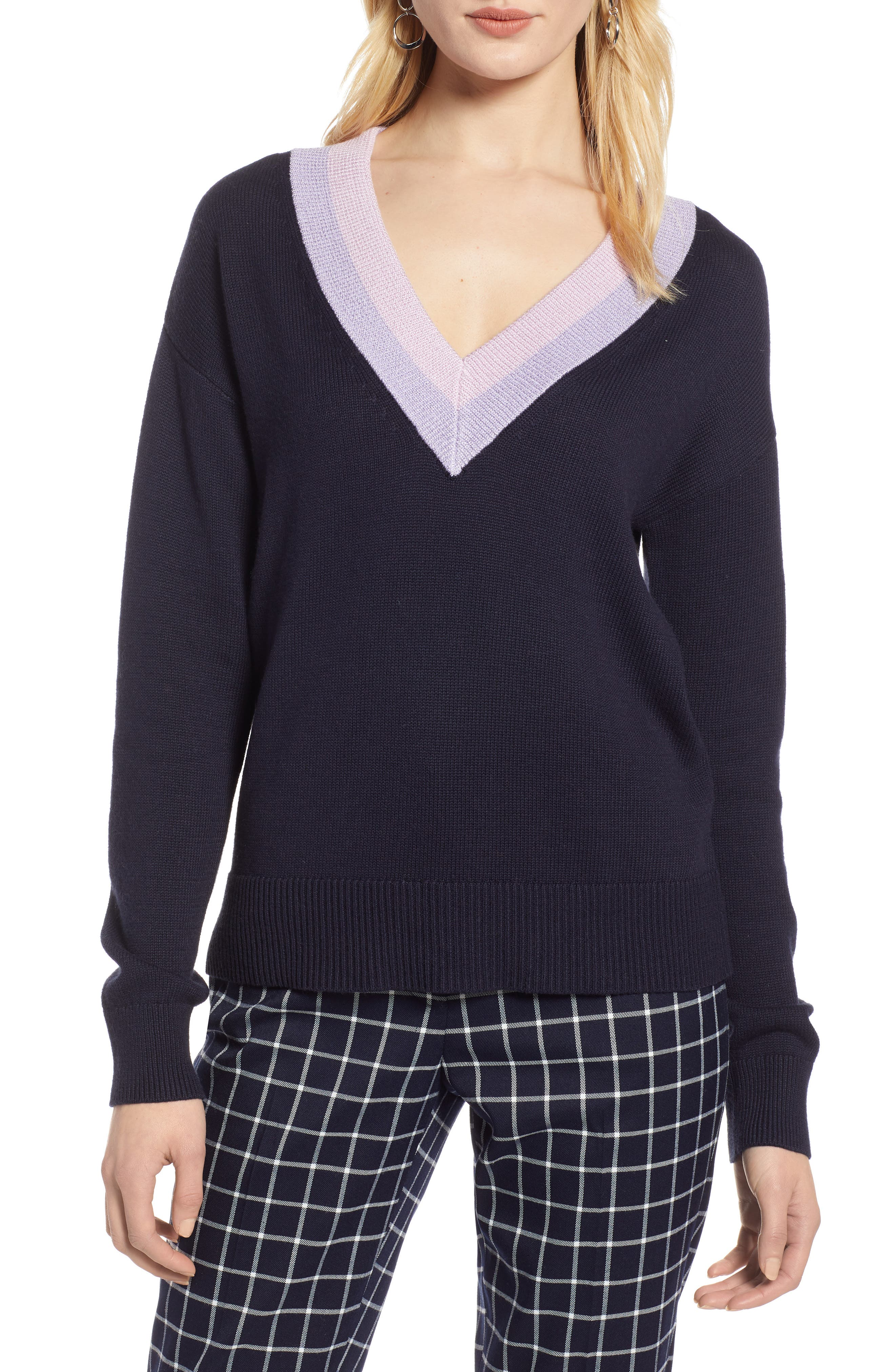 HALOGEN<SUP>®</SUP>, Shimmer V-Neck Sweater, Main thumbnail 1, color, NAVY NIGHT