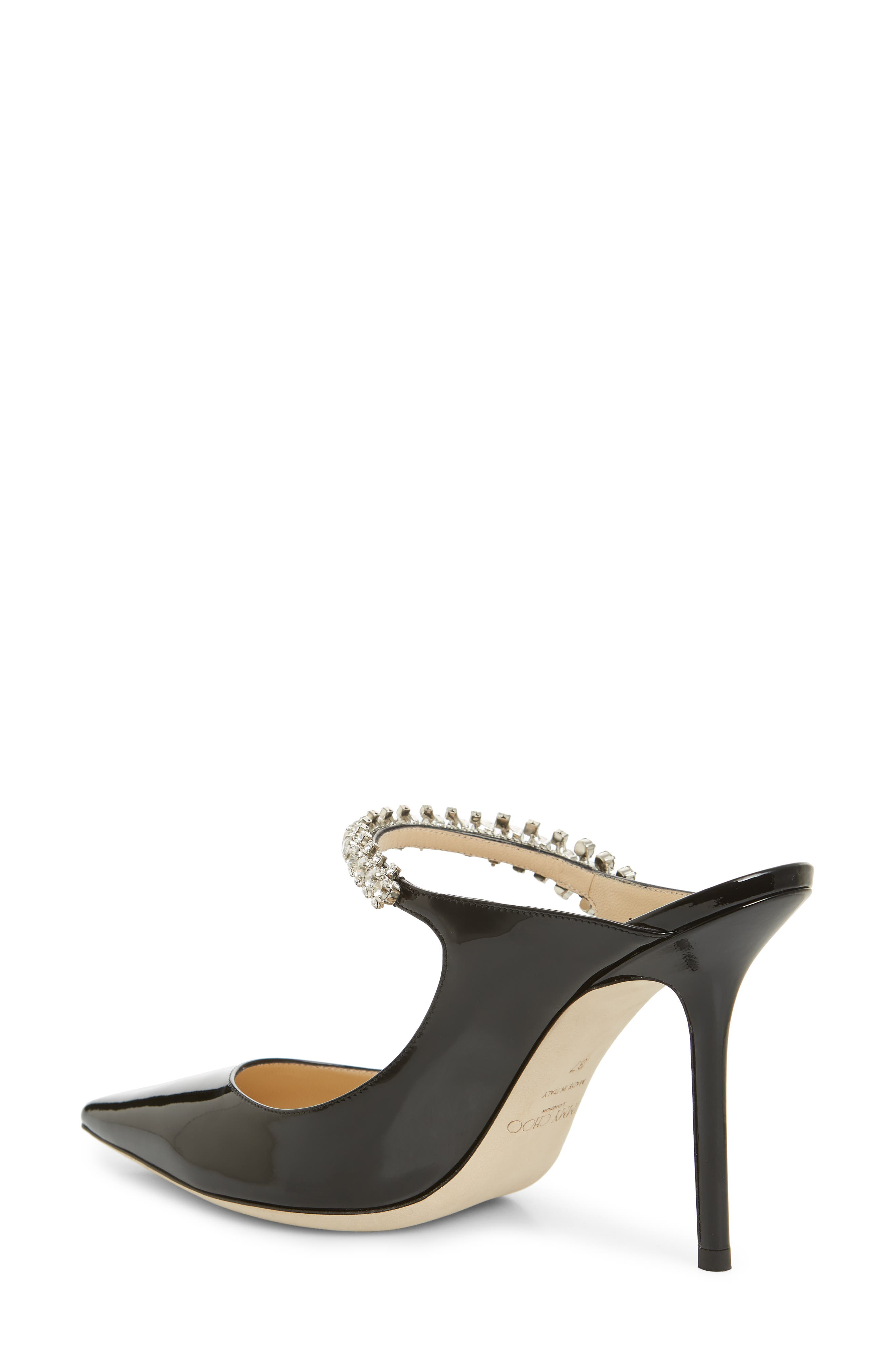 JIMMY CHOO, Embellished Mule, Alternate thumbnail 2, color, BLACK