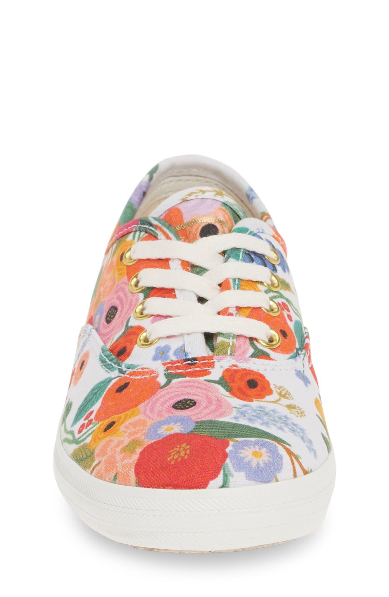 KEDS<SUP>®</SUP>, x Rifle Paper Co. Floral Print Champion Sneaker, Alternate thumbnail 4, color, GARDEN PARTY
