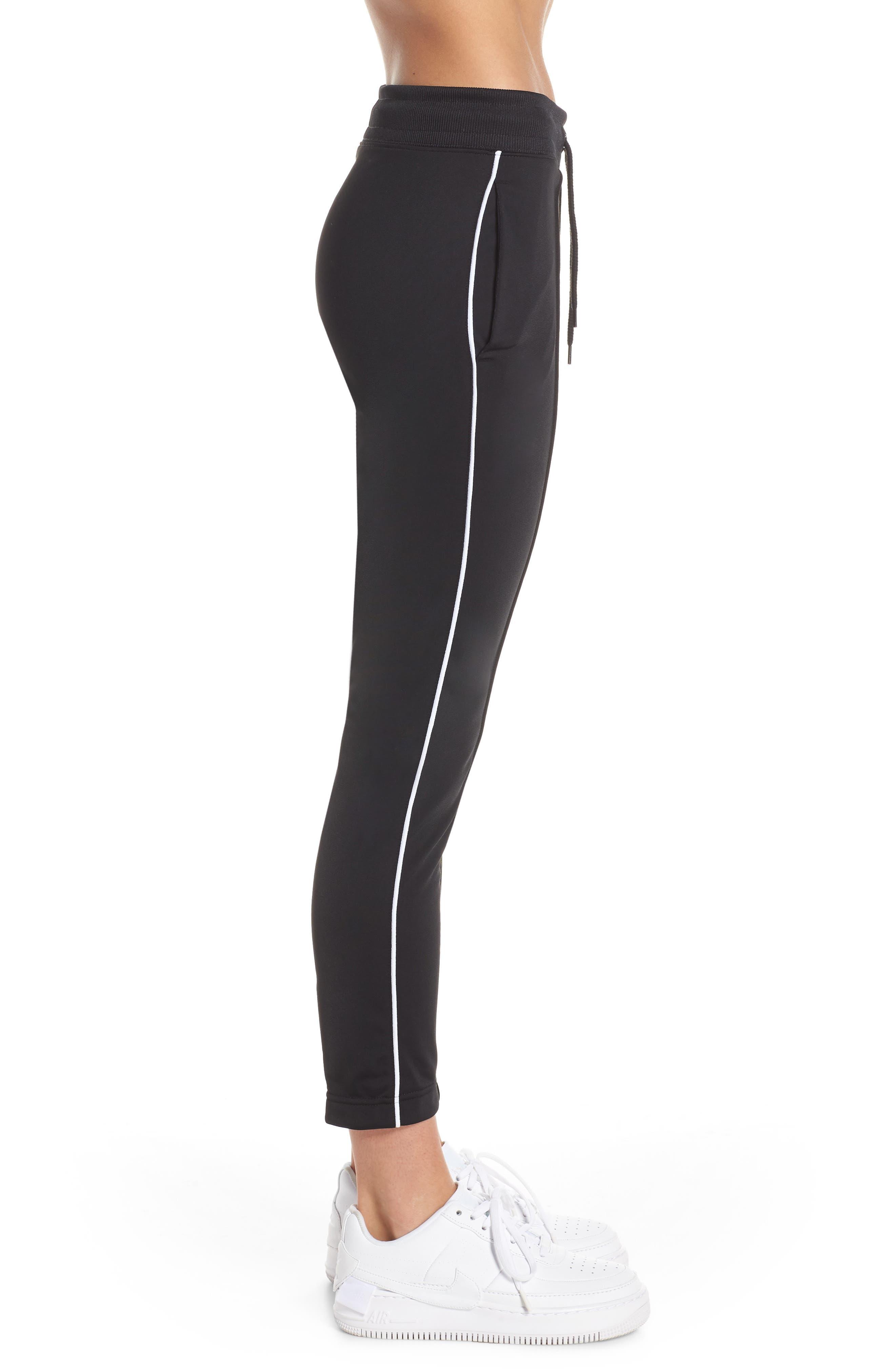 NIKE, NSW Slim Crop Pants, Alternate thumbnail 4, color, BLACK/ WHITE/ WHITE