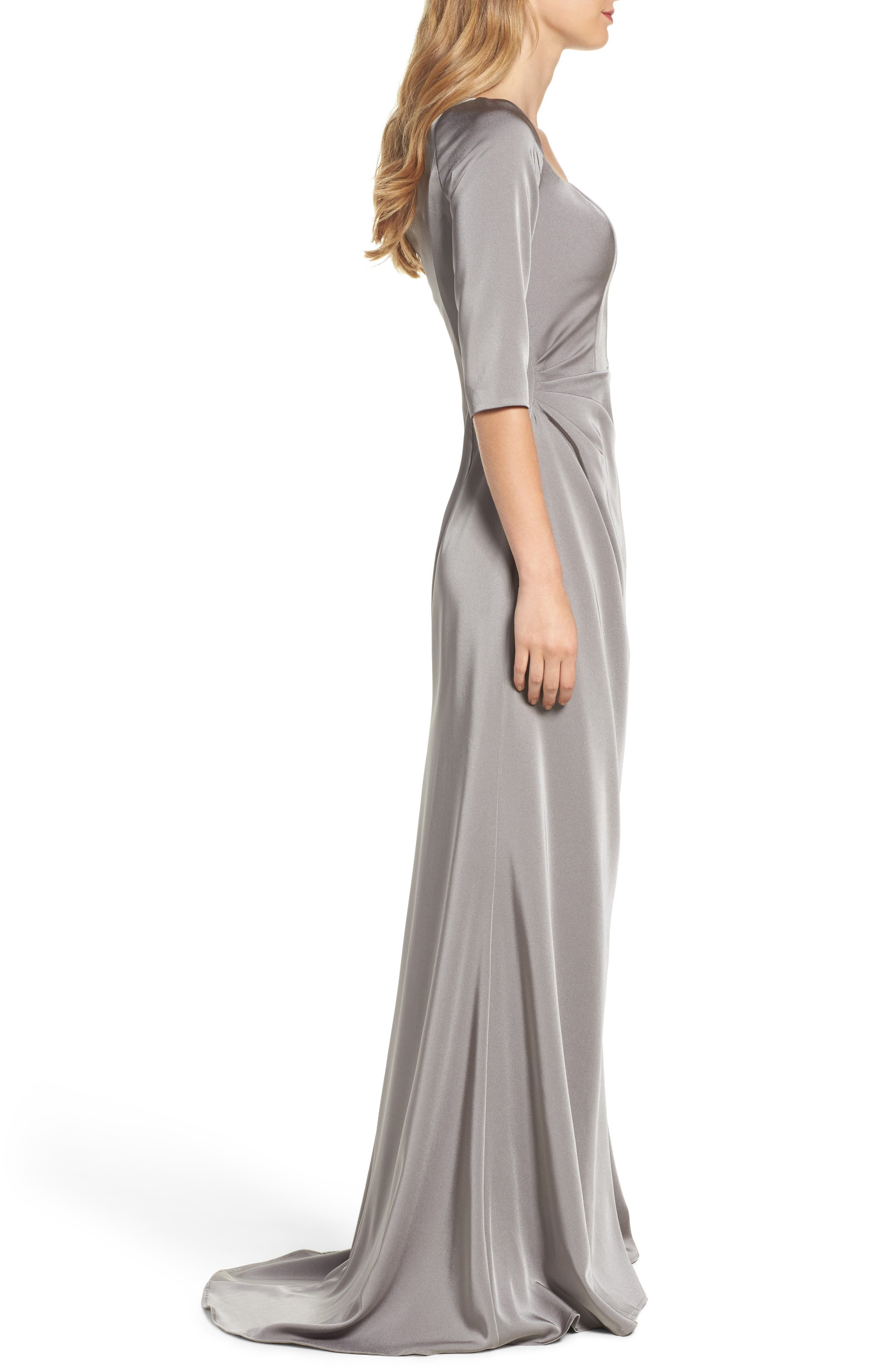 LA FEMME, Sweetheart Satin Gown, Alternate thumbnail 3, color, PLATINUM