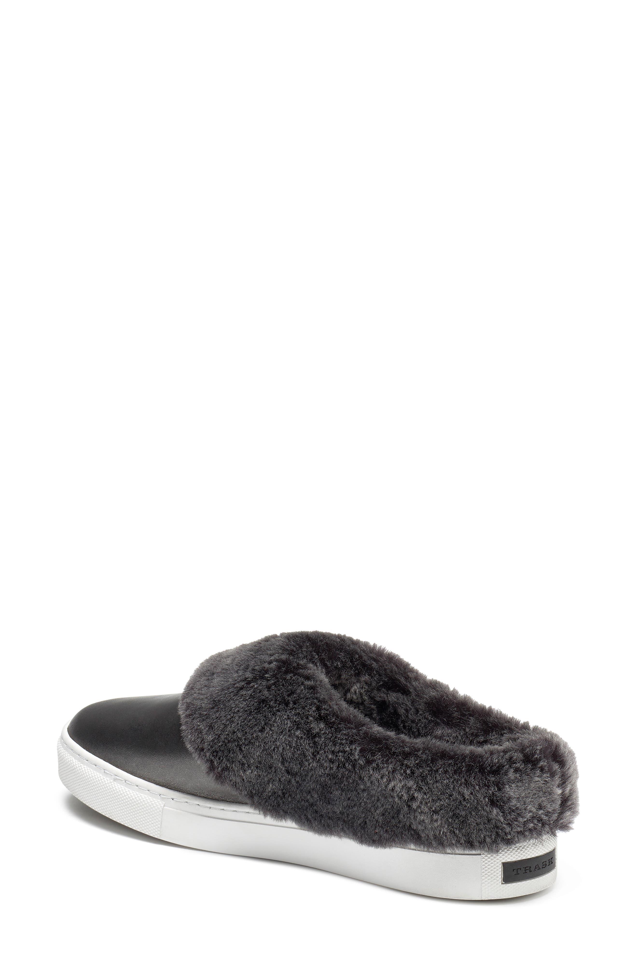 TRASK, Lisa Genuine Shearling Trim Slip-On Sneaker, Alternate thumbnail 2, color, PEWTER LEATHER