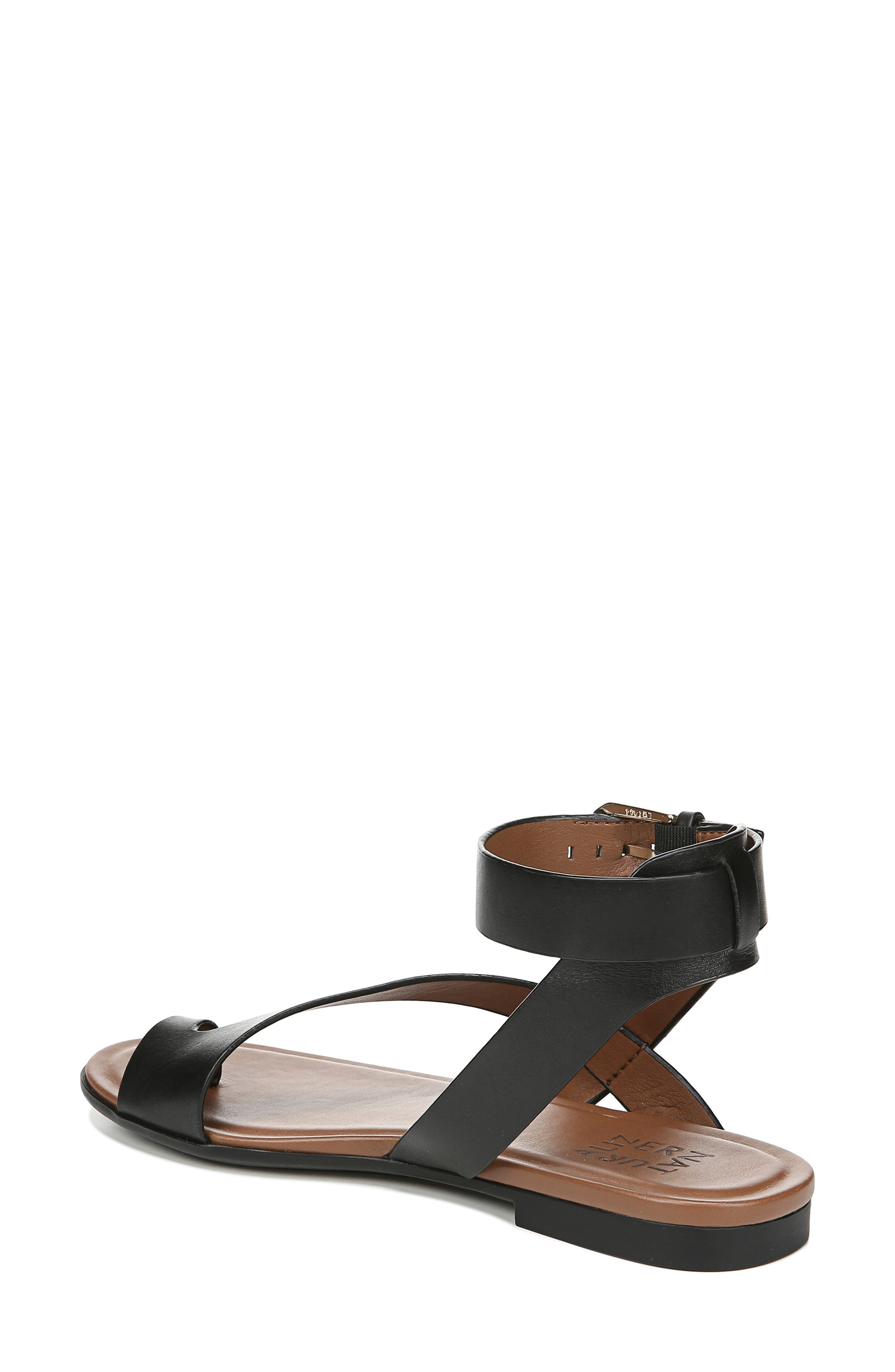 NATURALIZER, Tally Ankle Strap Sandal, Alternate thumbnail 2, color, BLACK LEATHER