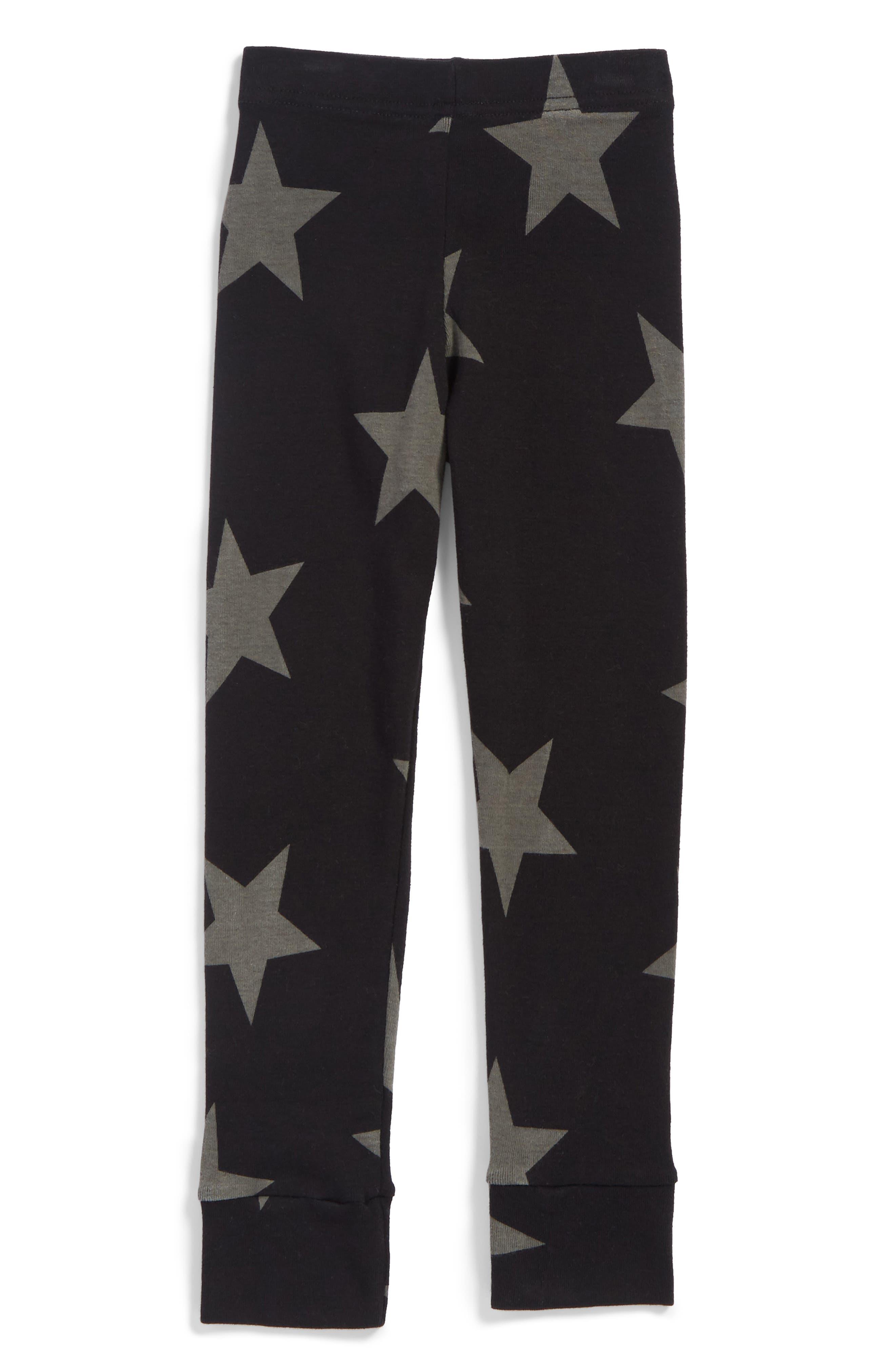 NUNUNU Star Print Leggings, Main, color, BLACK
