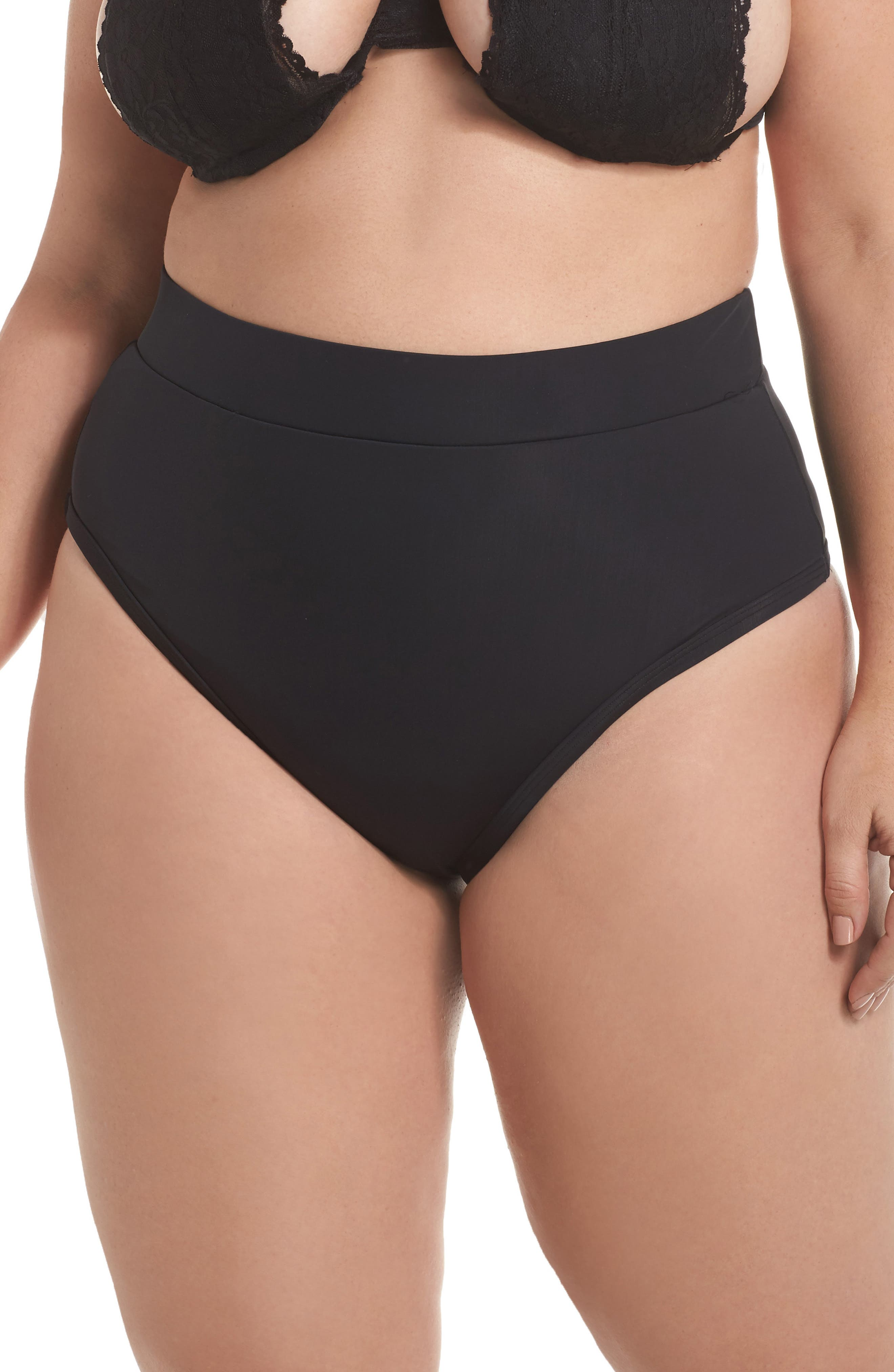 ALPINE BUTTERFLY, Lover High Waist Bikini Bottoms, Main thumbnail 1, color, BLACK