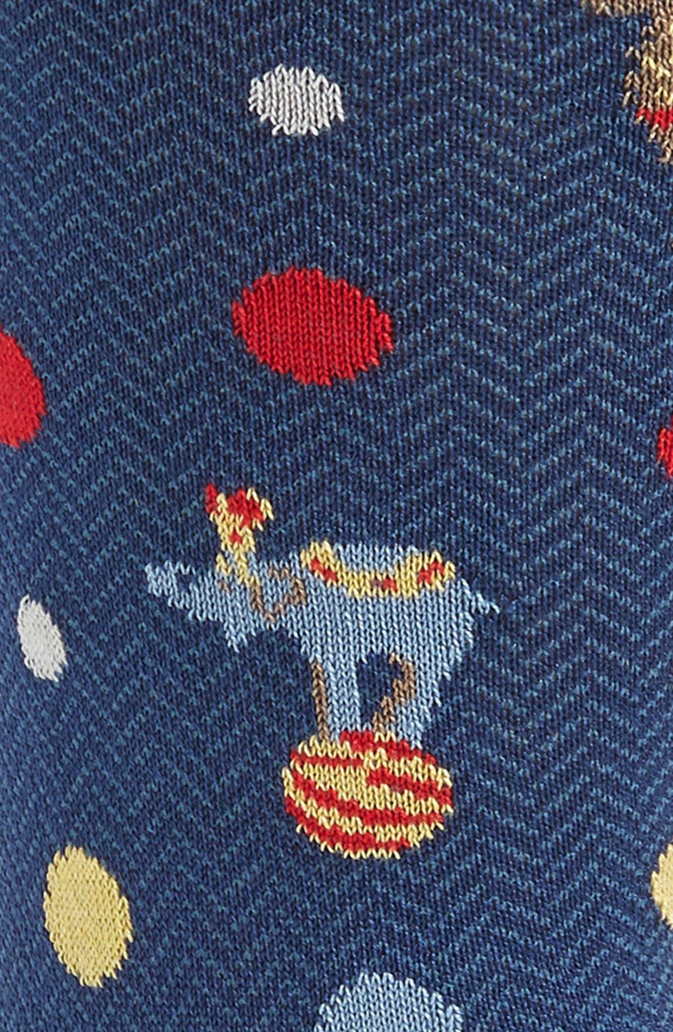 BUGATCHI, Jacquard Mercerized Socks, Alternate thumbnail 2, color, NAVY