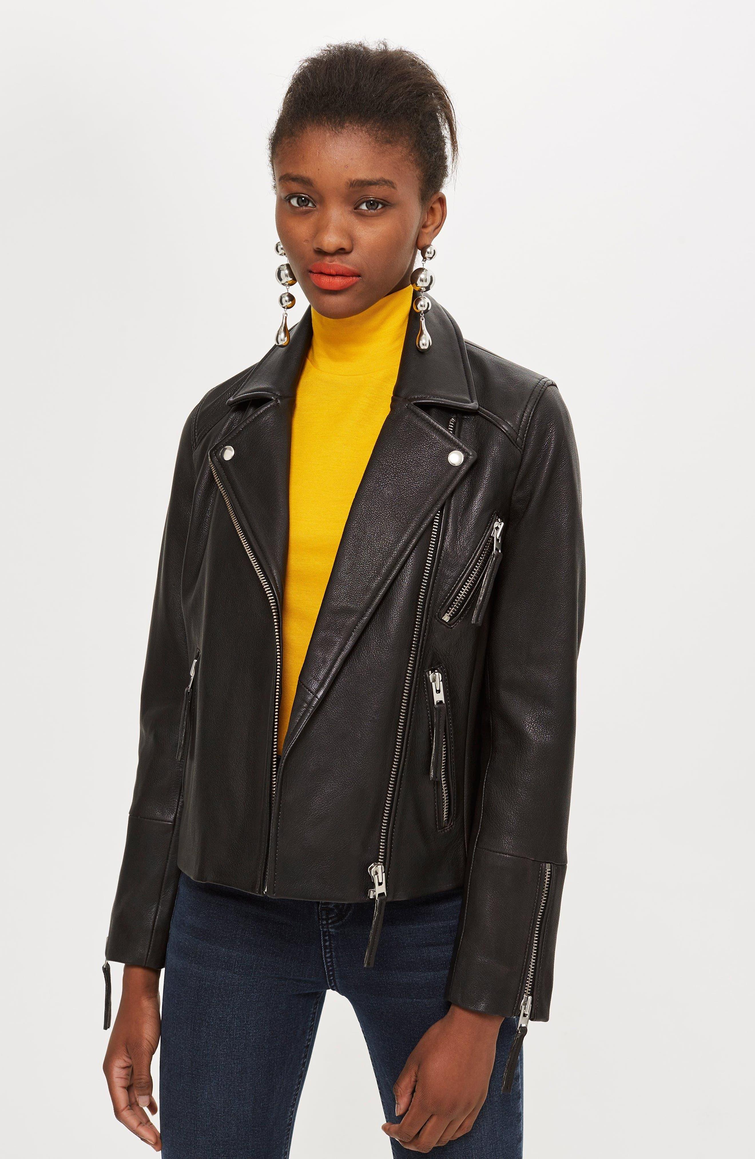 TOPSHOP, Dolly Leather Biker Jacket, Alternate thumbnail 6, color, BLACK