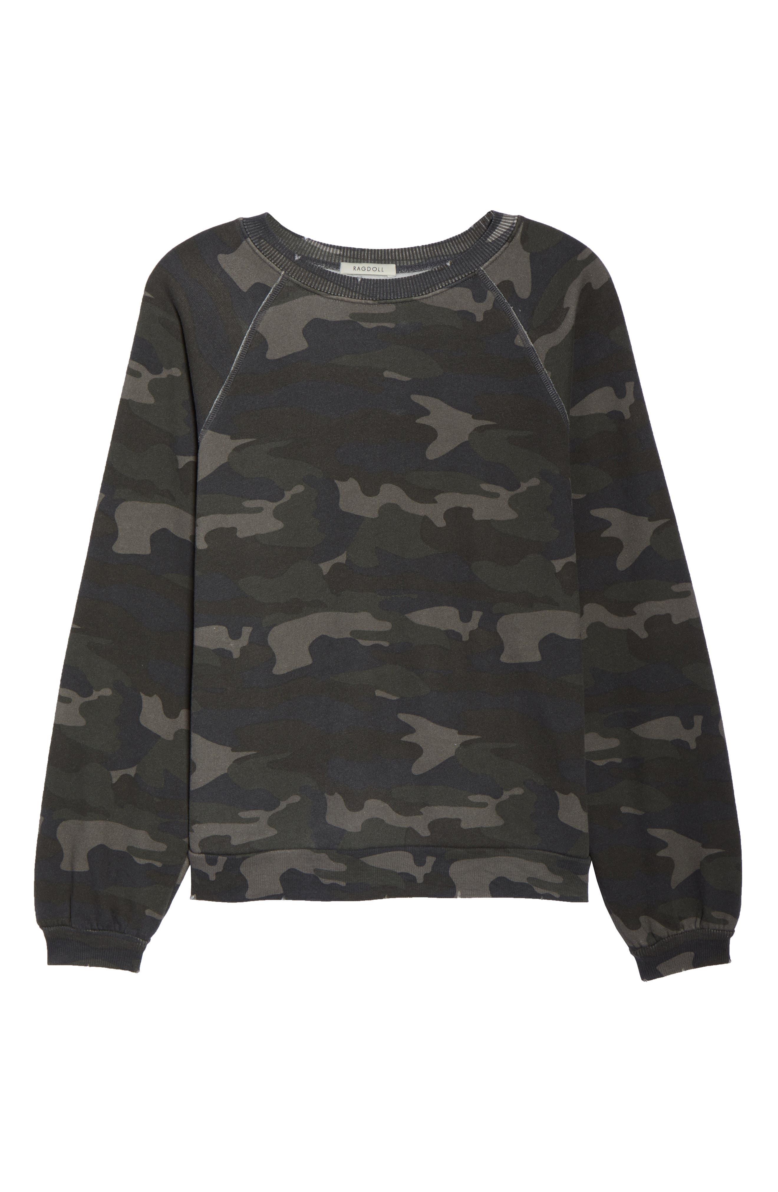RAGDOLL, Camo Oversize Sweatshirt, Alternate thumbnail 6, color, CAMO
