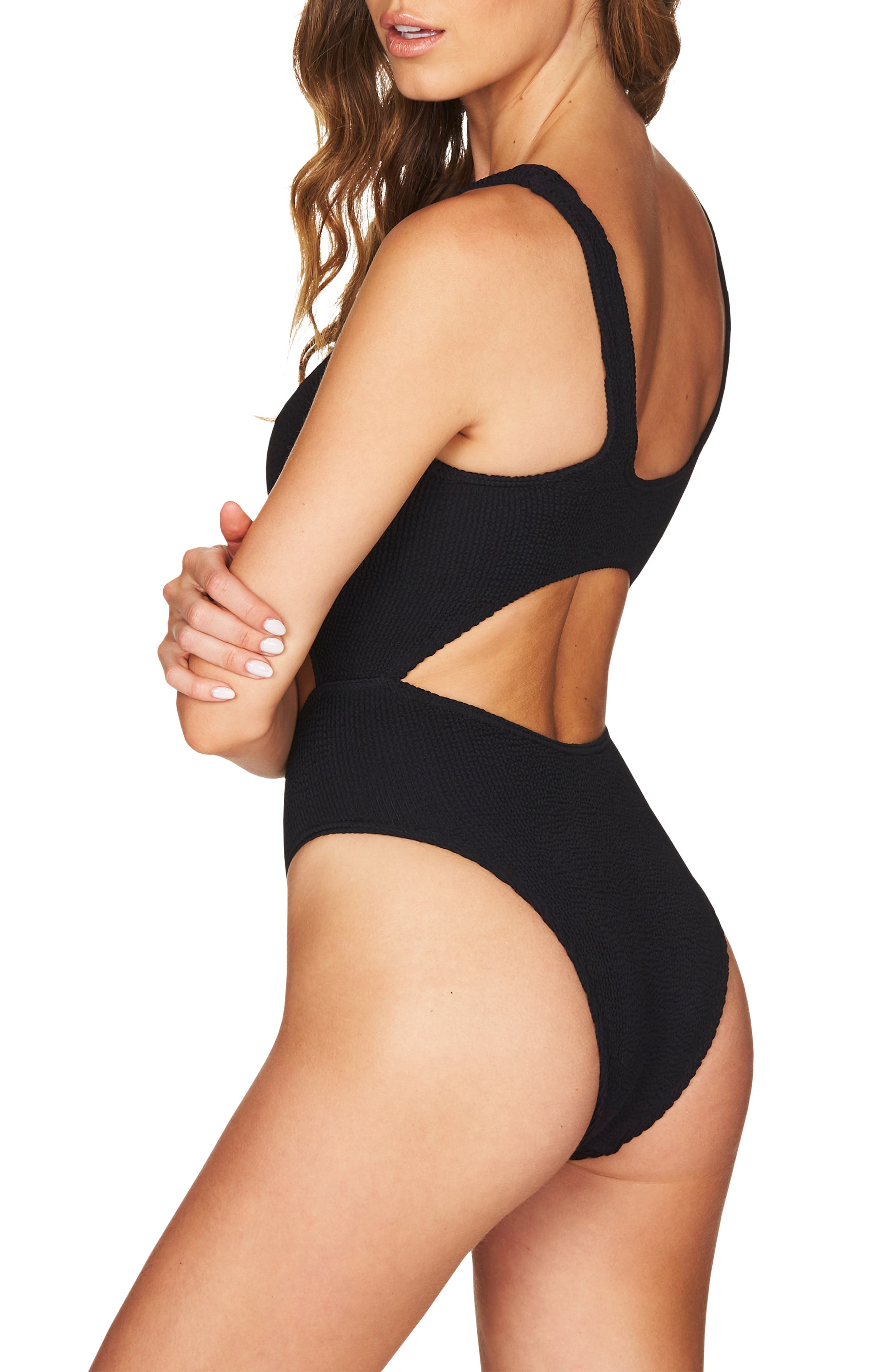 BOUND BY BOND-EYE, The Mishy High Cut Ribbed One-Piece Swimsuit, Alternate thumbnail 2, color, BLACK