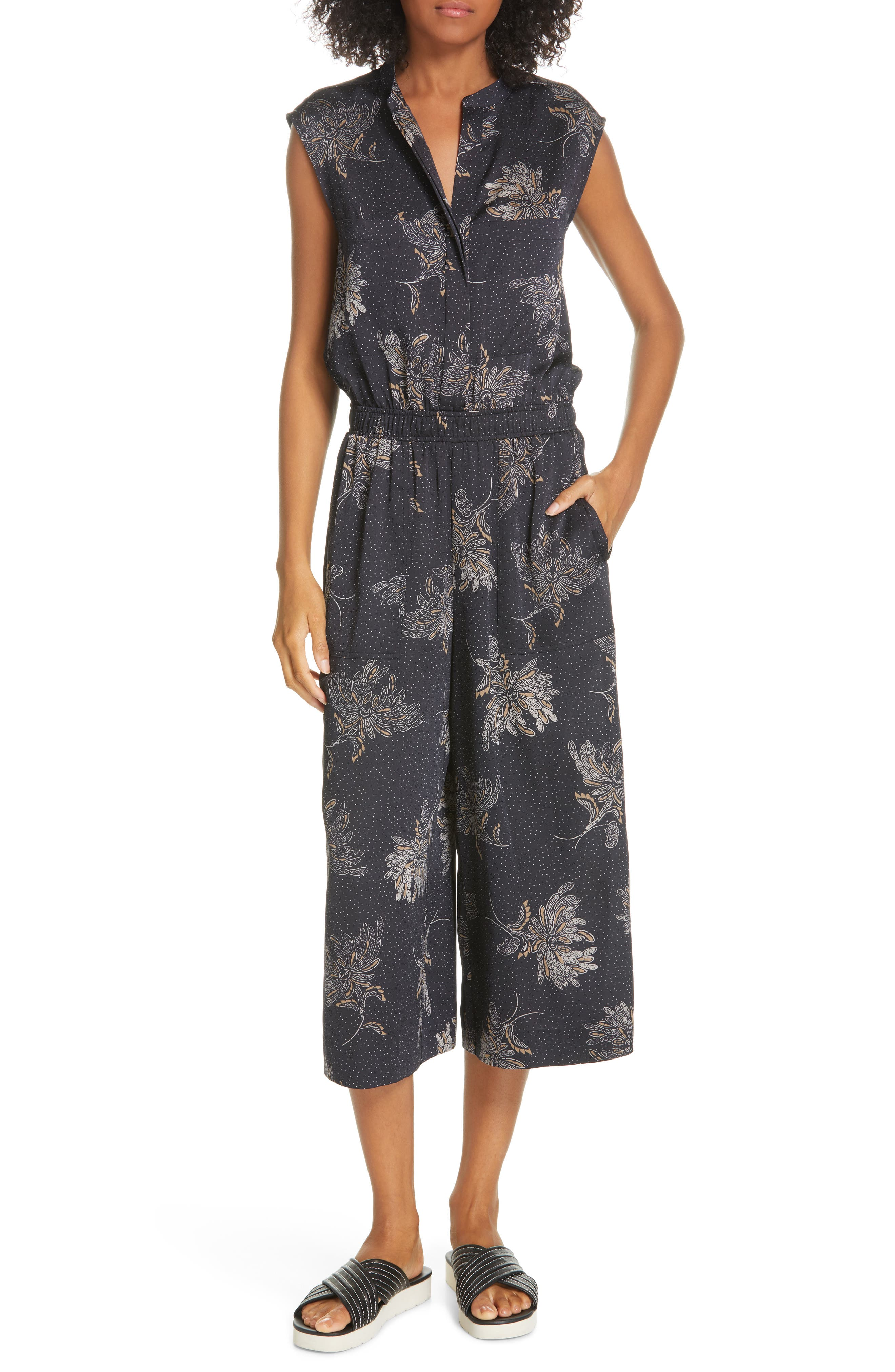 VINCE, Woodblock Floral Sleeveless Jumpsuit, Main thumbnail 1, color, COASTAL