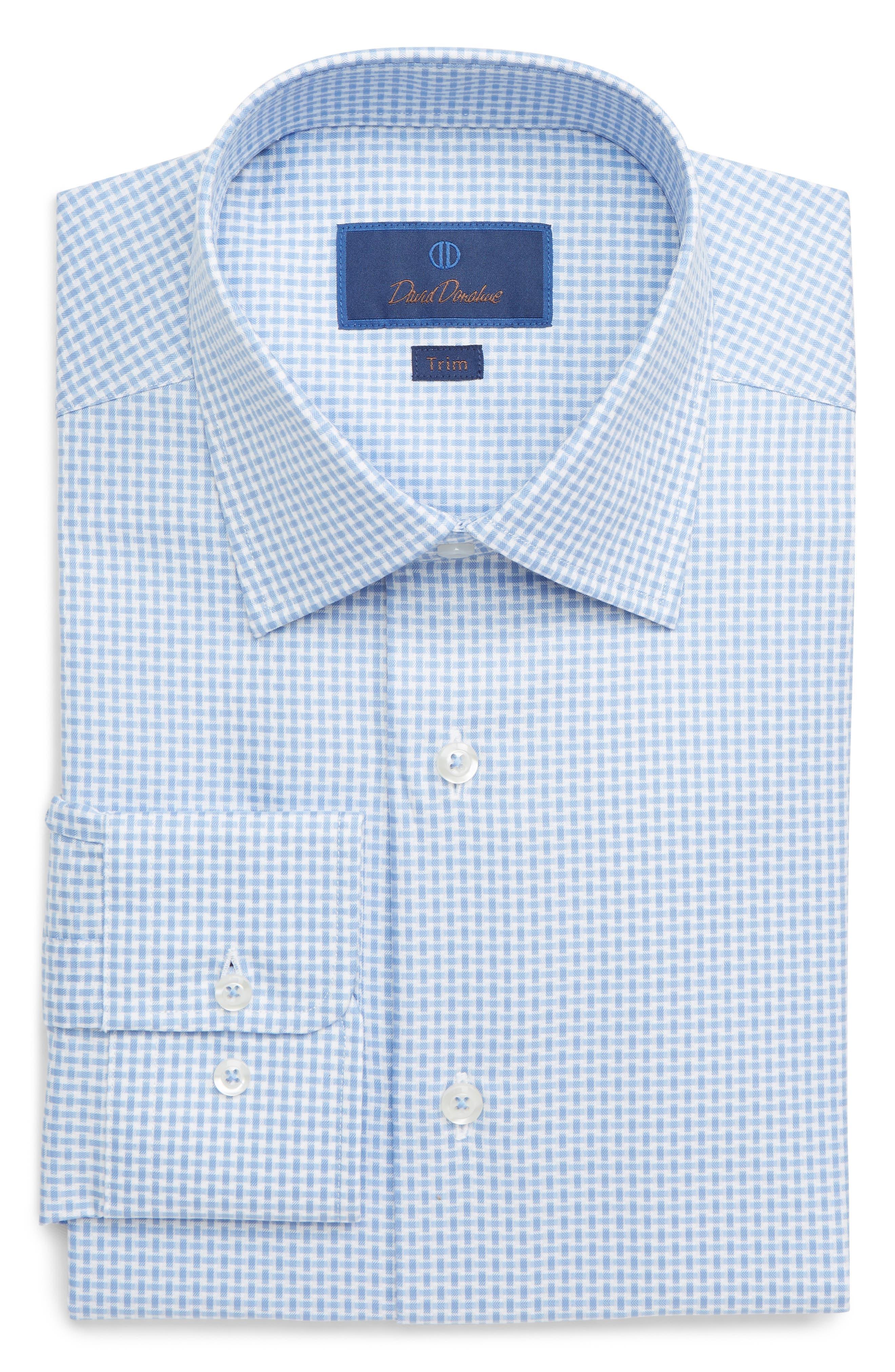 DAVID DONAHUE, Trim Fit Print Dress Shirt, Main thumbnail 1, color, BLUE