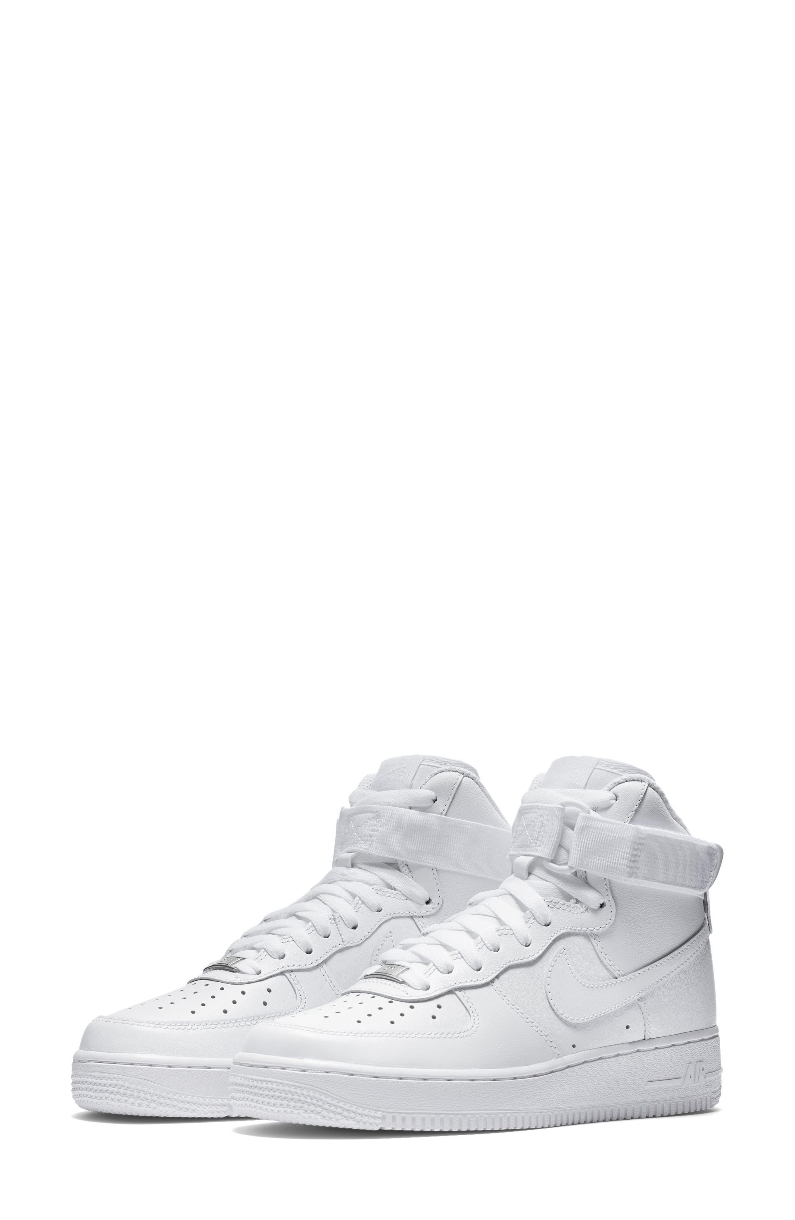 NIKE, Air Force 1 High Top Sneaker, Main thumbnail 1, color, WHITE/ WHITE/ WHITE